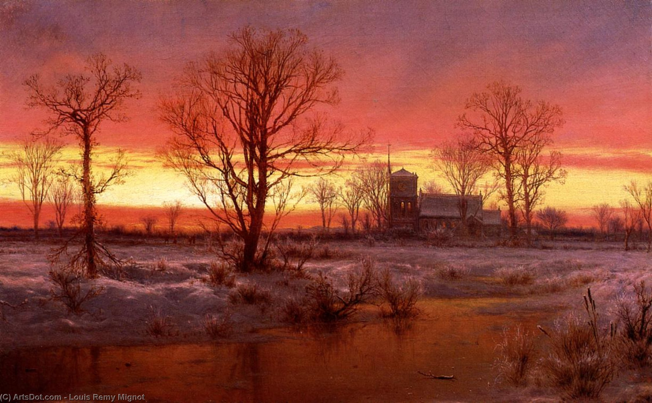 Sunset, Winter (also known as Church at Dusk), Oil On Canvas by Louis Remy Mignot (1831-1870, United States)