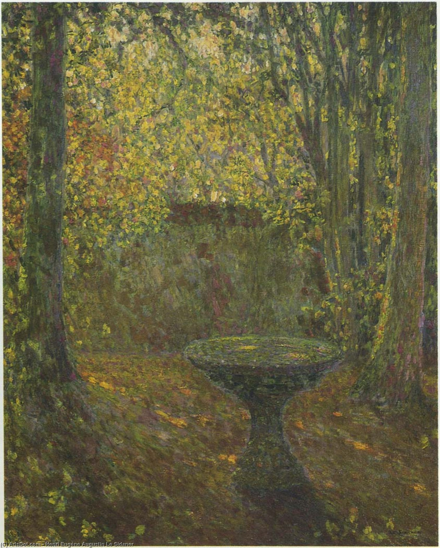 Table among the Trees, Oil On Canvas by Henri Eugène Augustin Le Sidaner (1862-1939, Mauritius)