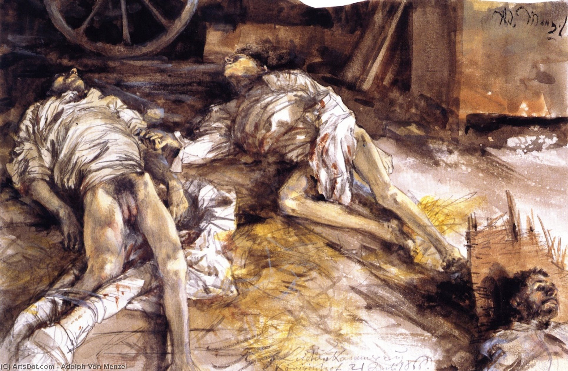 Two Dead Soldiers in a Barn, Watercolour by Adolph Menzel (1815-1905, Poland)