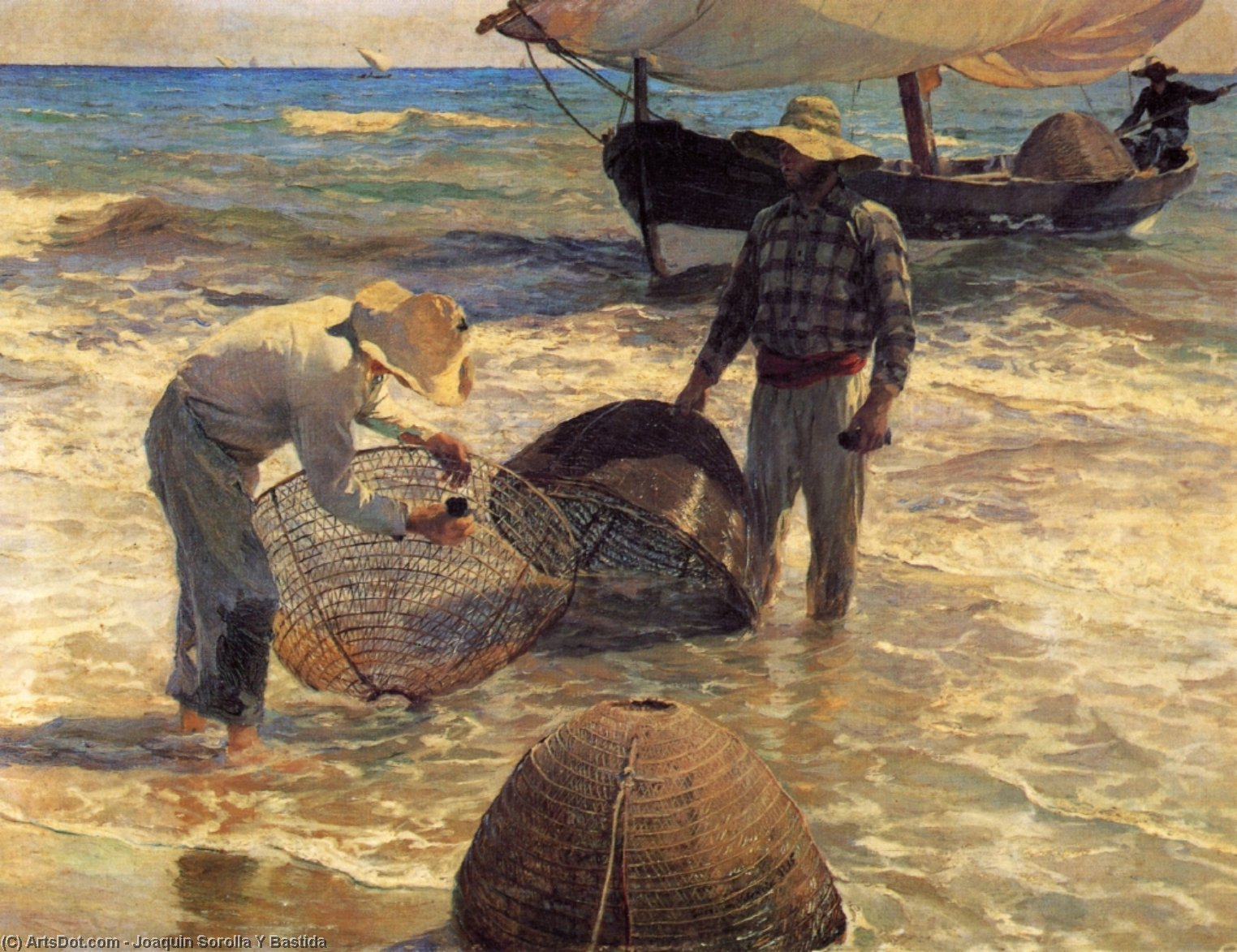 Valencian Fishermen, Oil On Canvas by Joaquin Sorolla Y Bastida (1863-1923, Spain)