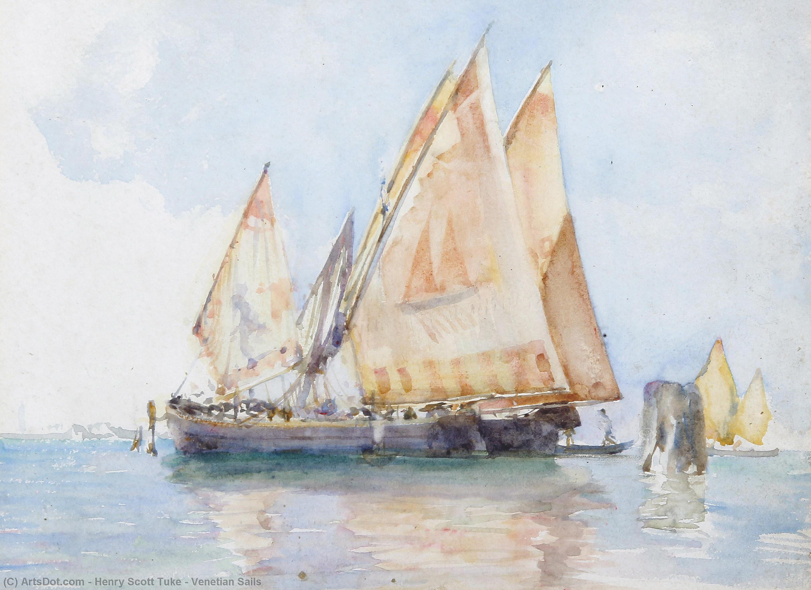Venetian Sails by Henry Scott Tuke (1858-1929, United Kingdom) | Reproductions Henry Scott Tuke | ArtsDot.com