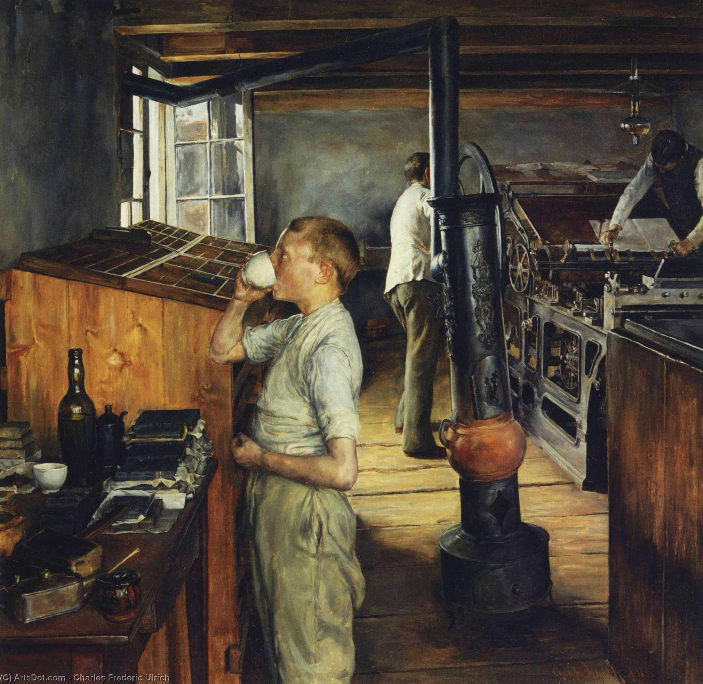 The Village Printing Shop, Haarlem, Holland, Oil On Panel by Charles Frederic Ulrich (1858-1908, United States)