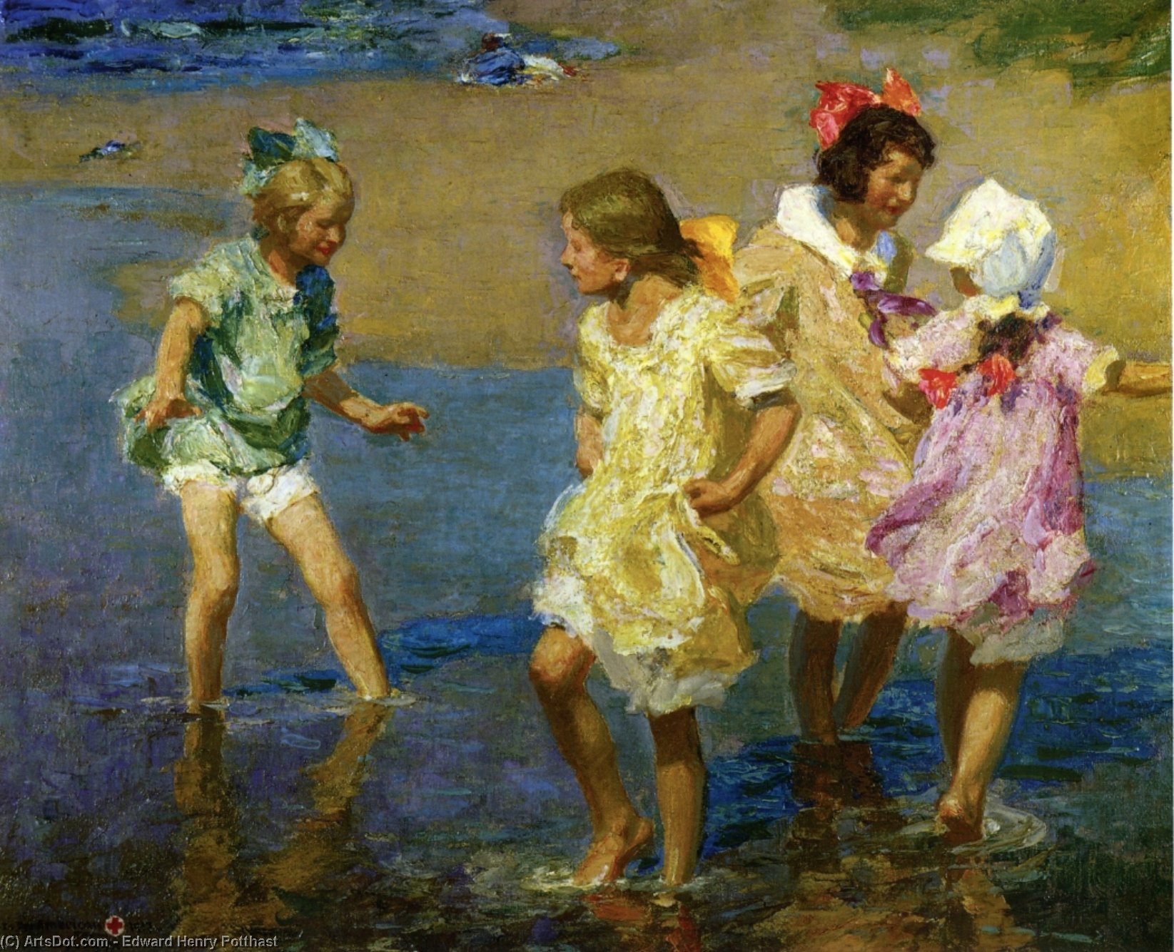 Water Lillies by Edward Henry Potthast (1857-1927, United States) | Museum Art Reproductions Edward Henry Potthast | ArtsDot.com