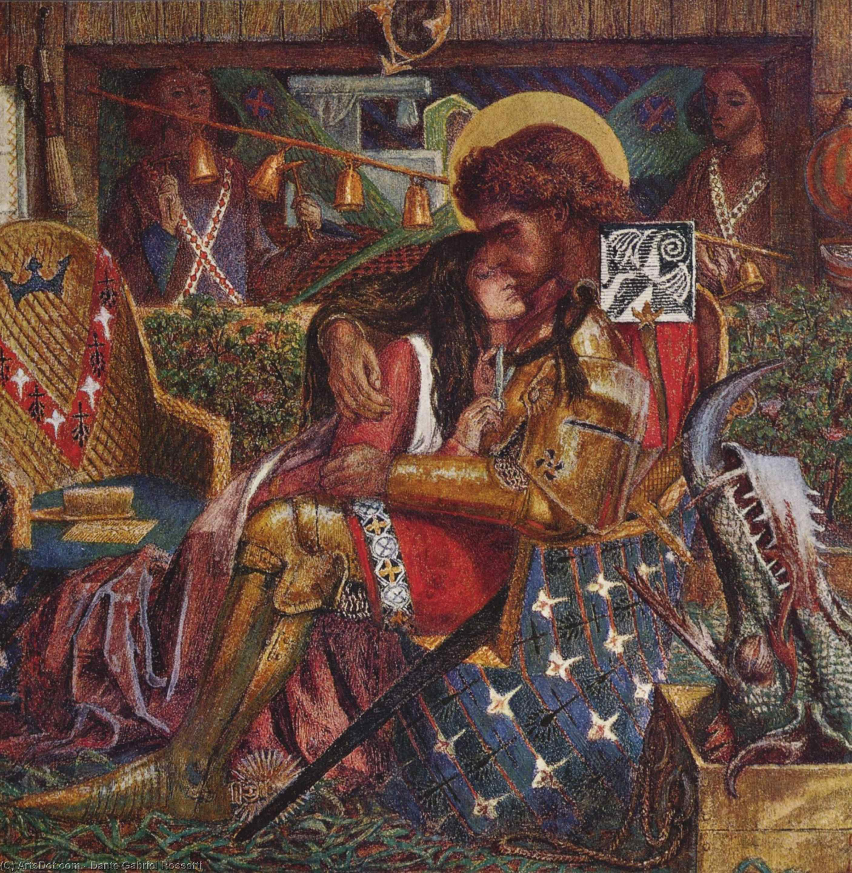 Wedding of St George and the Princess, The, Watercolour by Dante Gabriel Rossetti (1828-1882, United Kingdom)