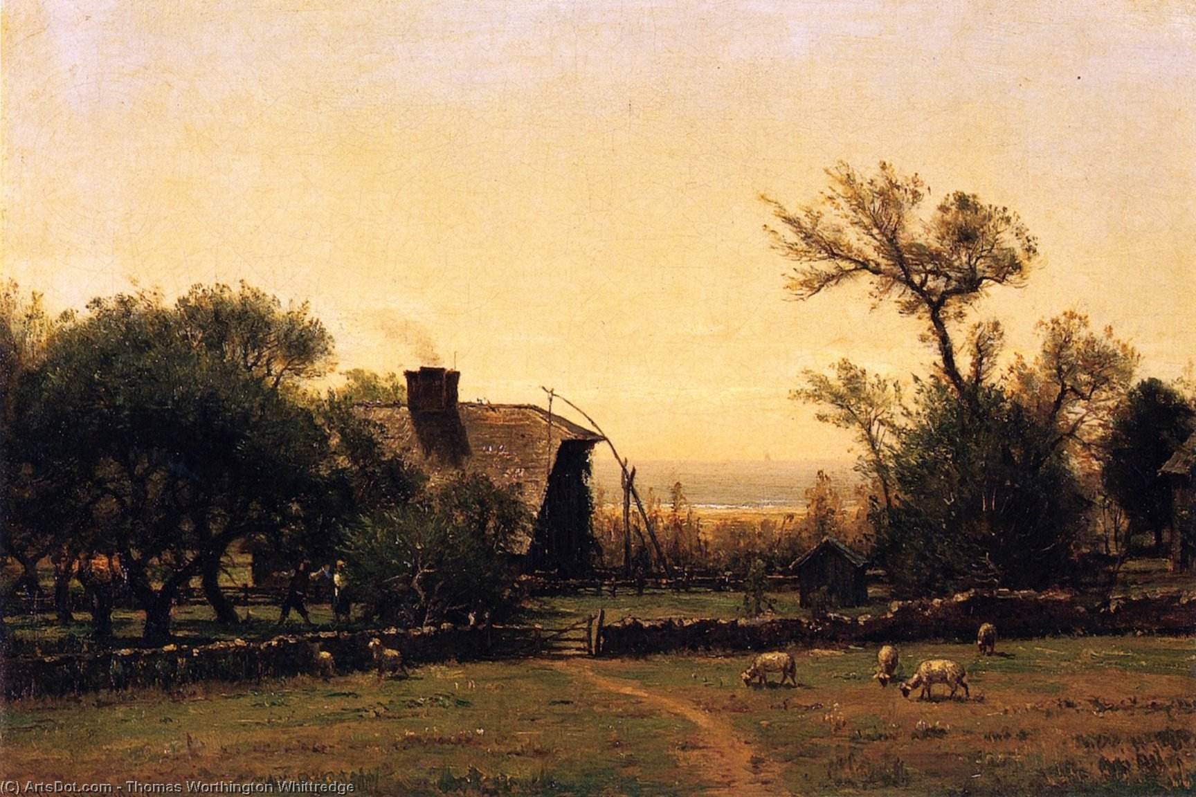 Whitehall - Bishop Berkeley`s Farm at Middleton, Rhode Island, 1880 by Thomas Worthington Whittredge (1820-1910, United States) | Art Reproductions Thomas Worthington Whittredge | ArtsDot.com
