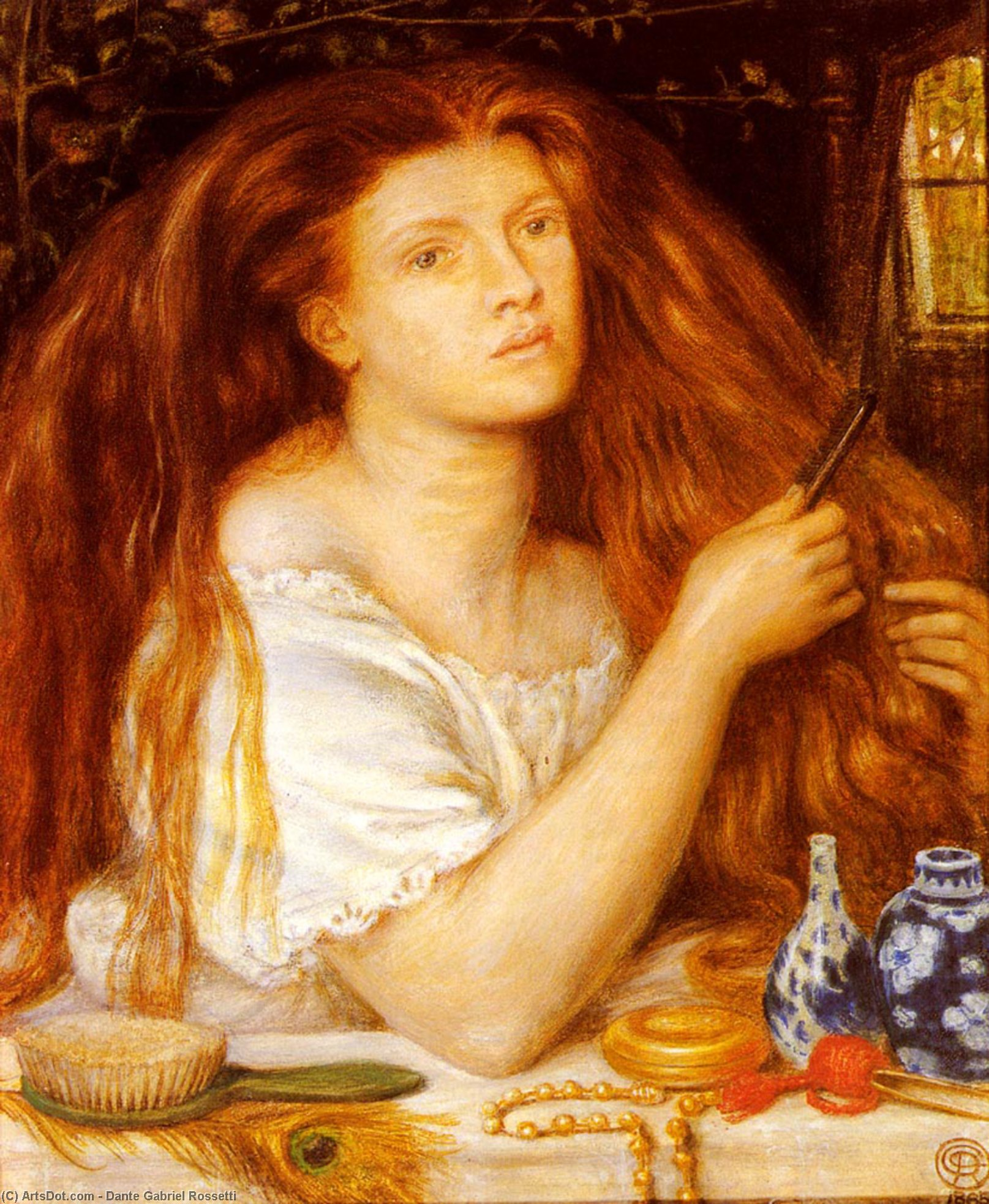 Woman Combing Her Hair, 1864 by Dante Gabriel Rossetti (1828-1882, United Kingdom)