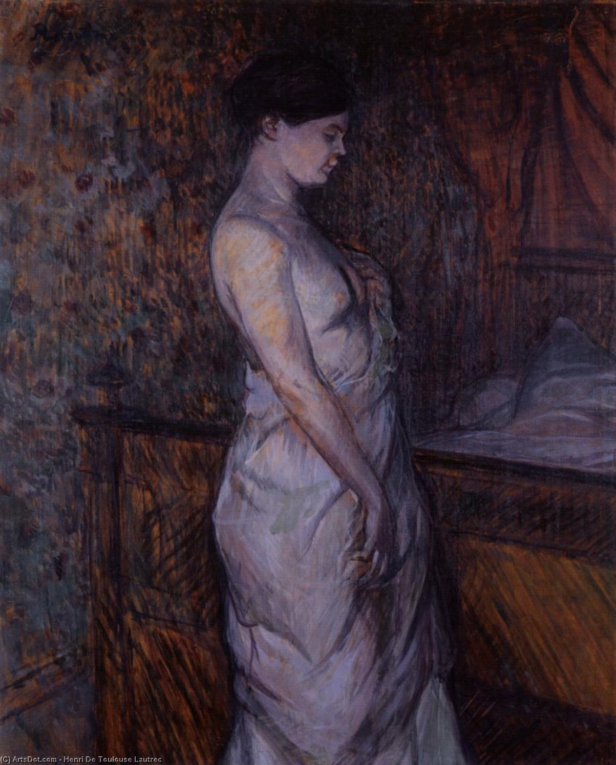 Woman in a Chemise Standing by a Bed (also known as Madame Poupoule), Oil On Panel by Henri De Toulouse Lautrec (1864-1901, France)