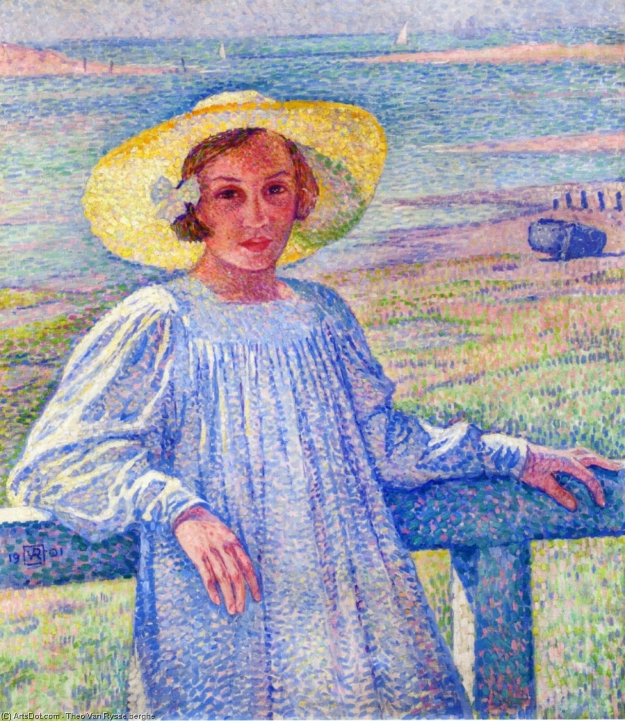 Young Girl in a Straw Hat, Oil On Canvas by Theo Van Rysselberghe (1862-1926, Belgium)