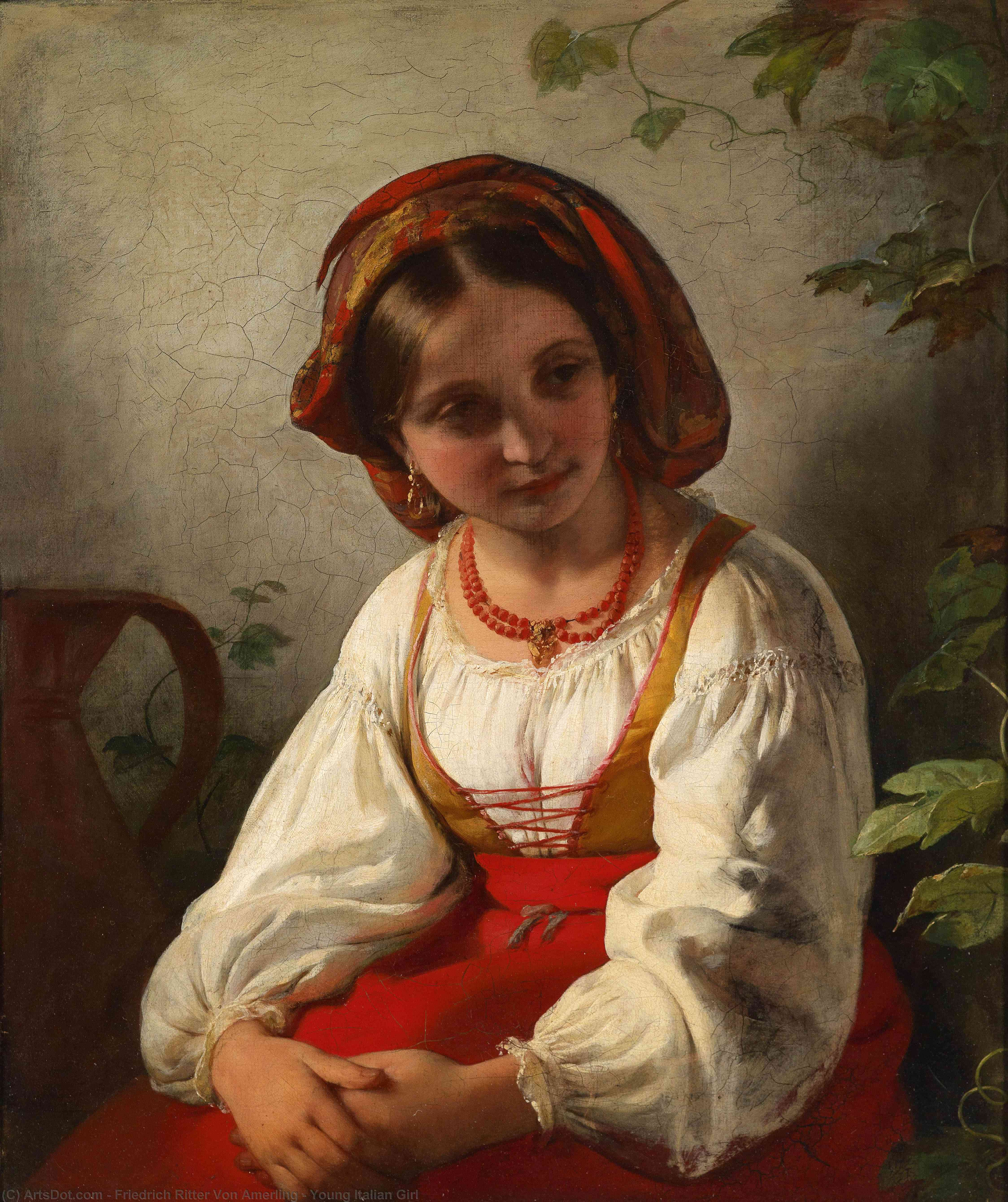 Young Italian Girl by Friedrich Ritter Von Amerling (1803-1887) | Museum Art Reproductions | ArtsDot.com