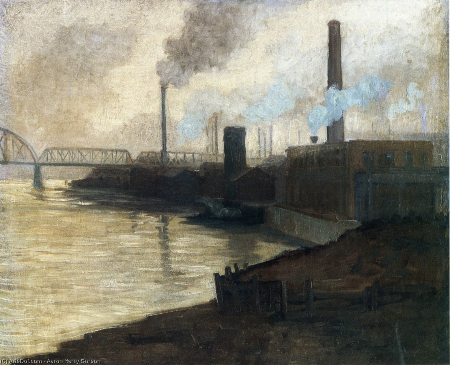 Industrial Scene - Mills On The Monongahela by Aaron Harry Gorson (1872-1933, Lithuania)