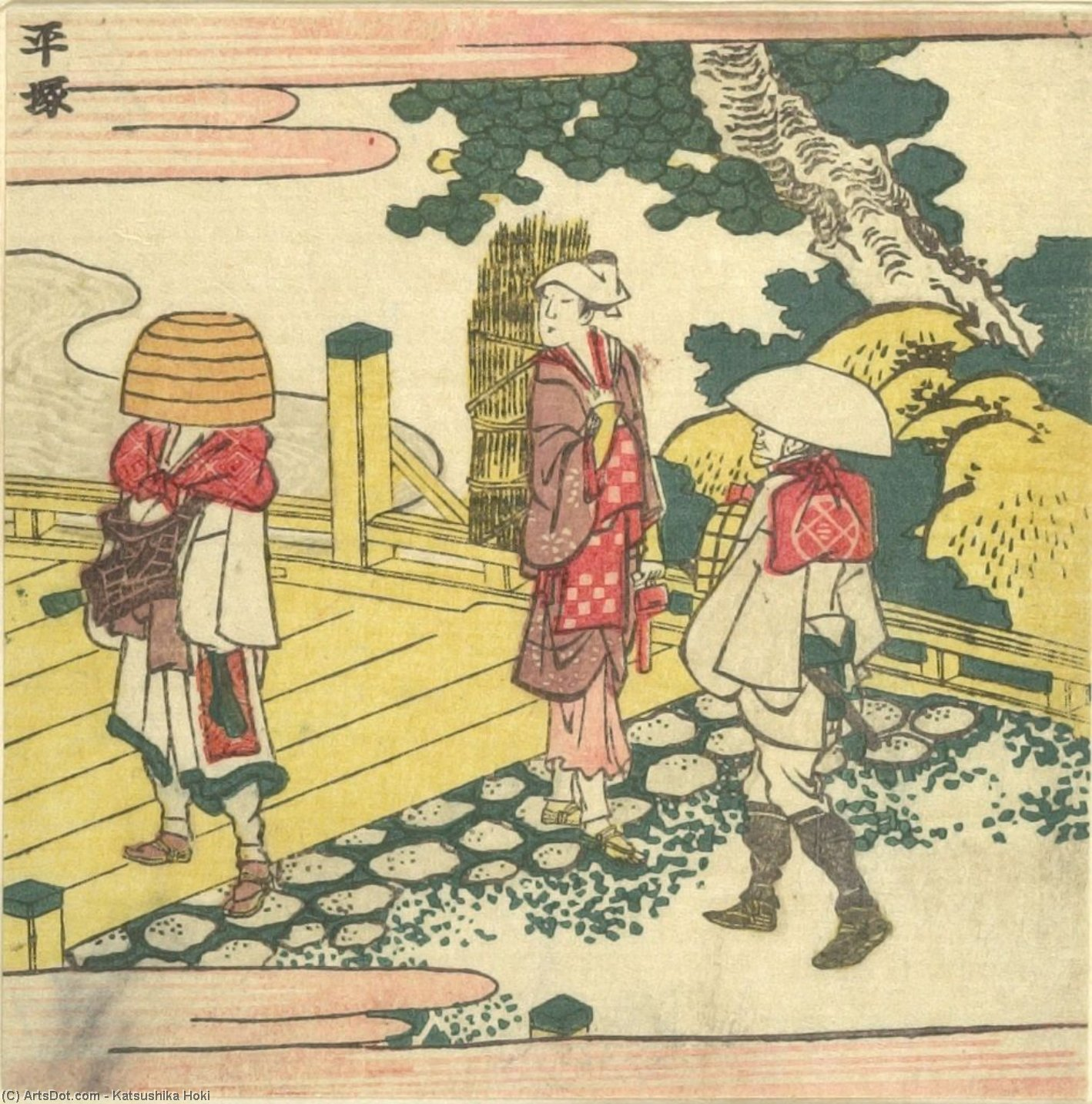 Mendicant And Two Travelers by Katsushika Hokusai (1760-1849, Japan) | ArtsDot.com