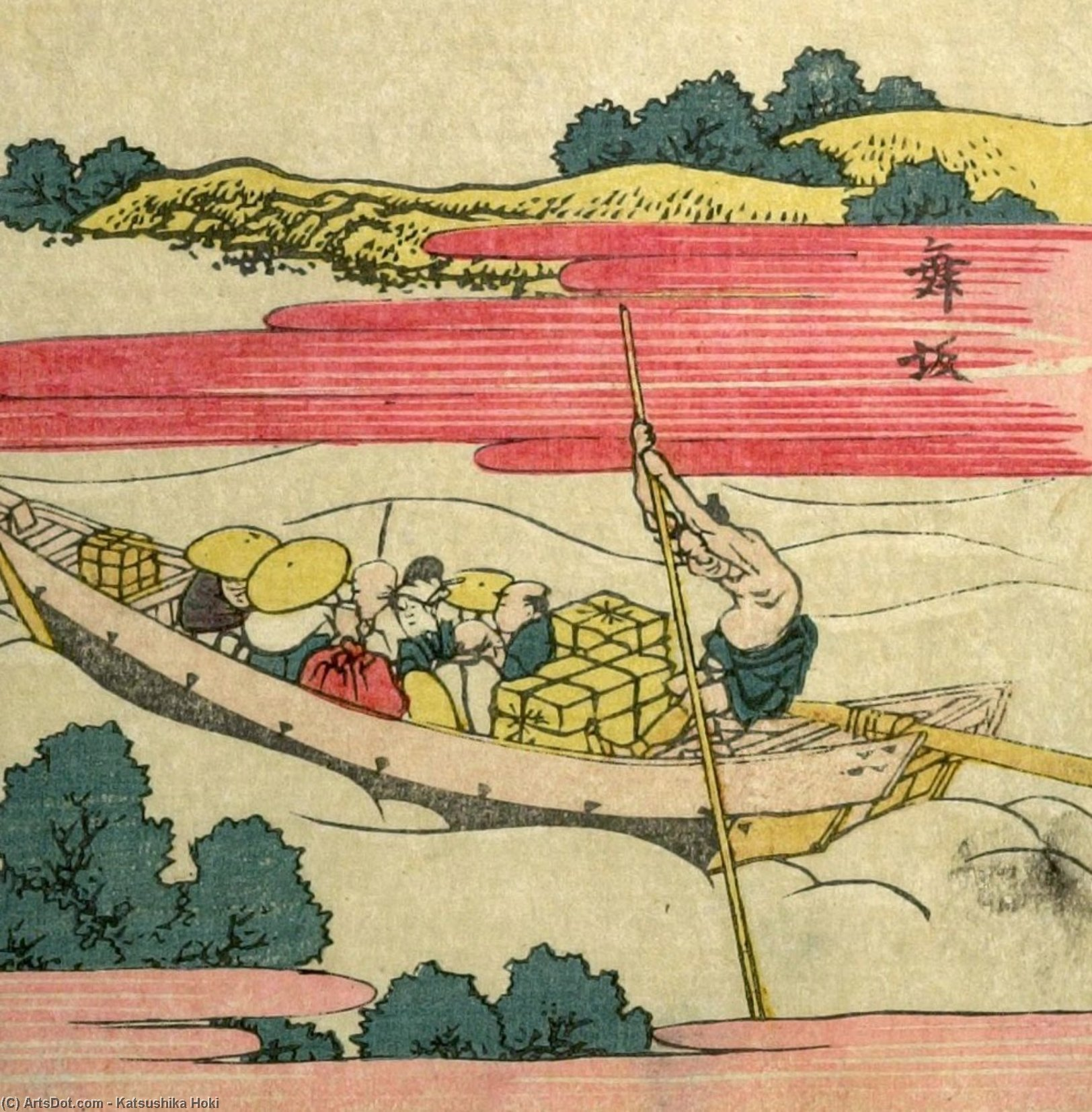 Travelers On A Ferry by Katsushika Hokusai (1760-1849, Japan)