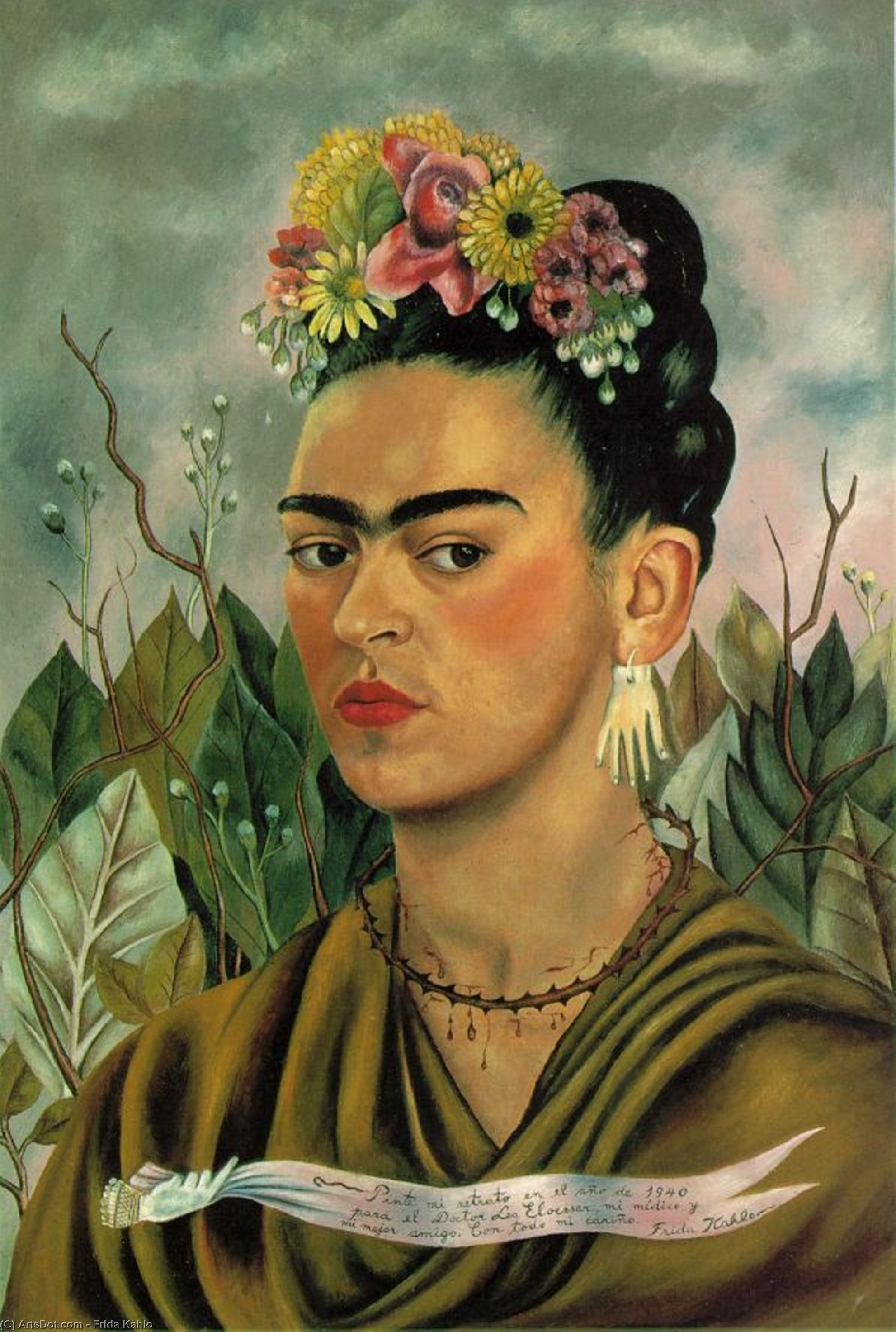 Self-Portrait dedicated to Dr. Eloesser by Frida Kahlo (1907-1954, Mexico)