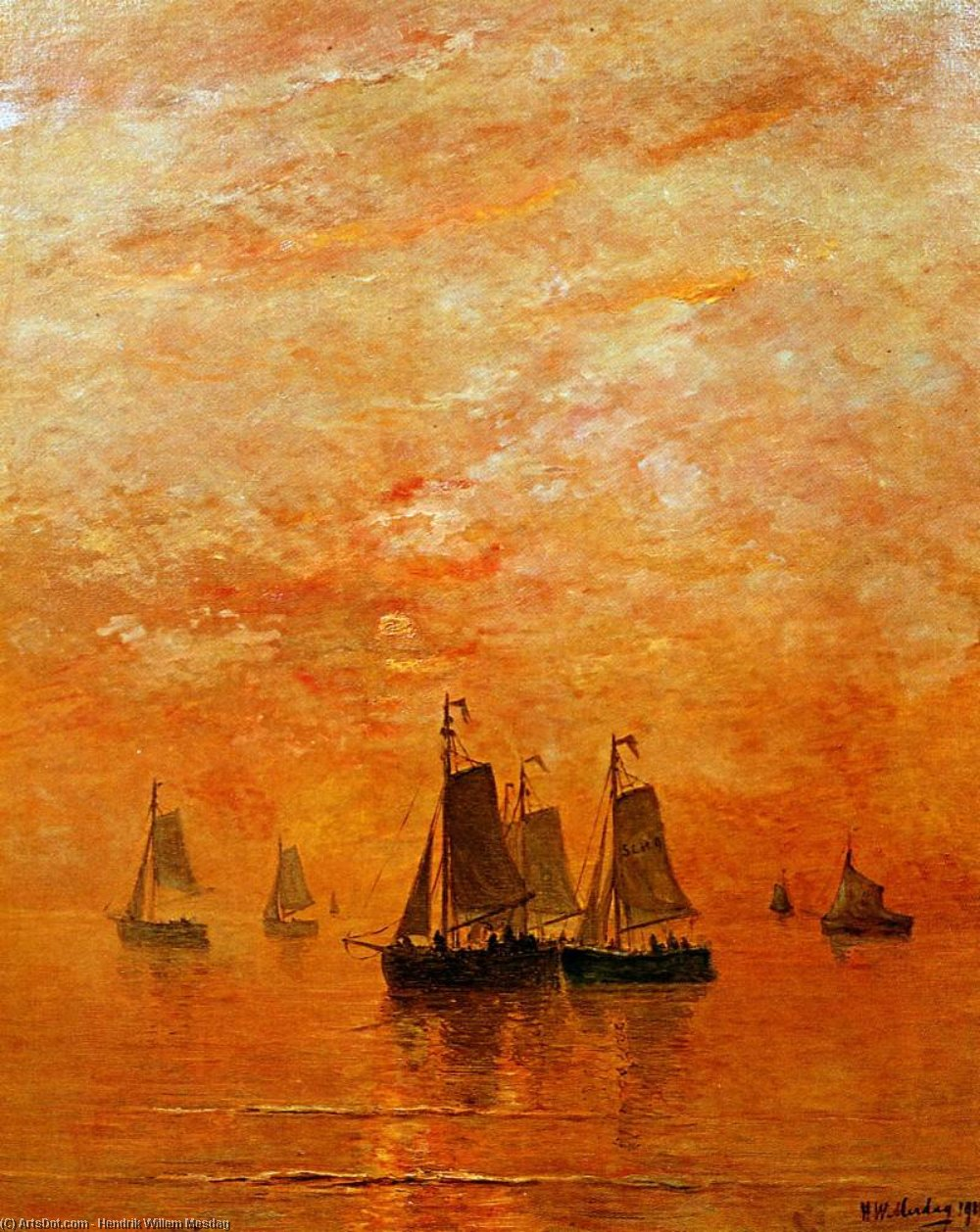 evening colours sun by Hendrik Willem Mesdag (1831-1915, Netherlands)
