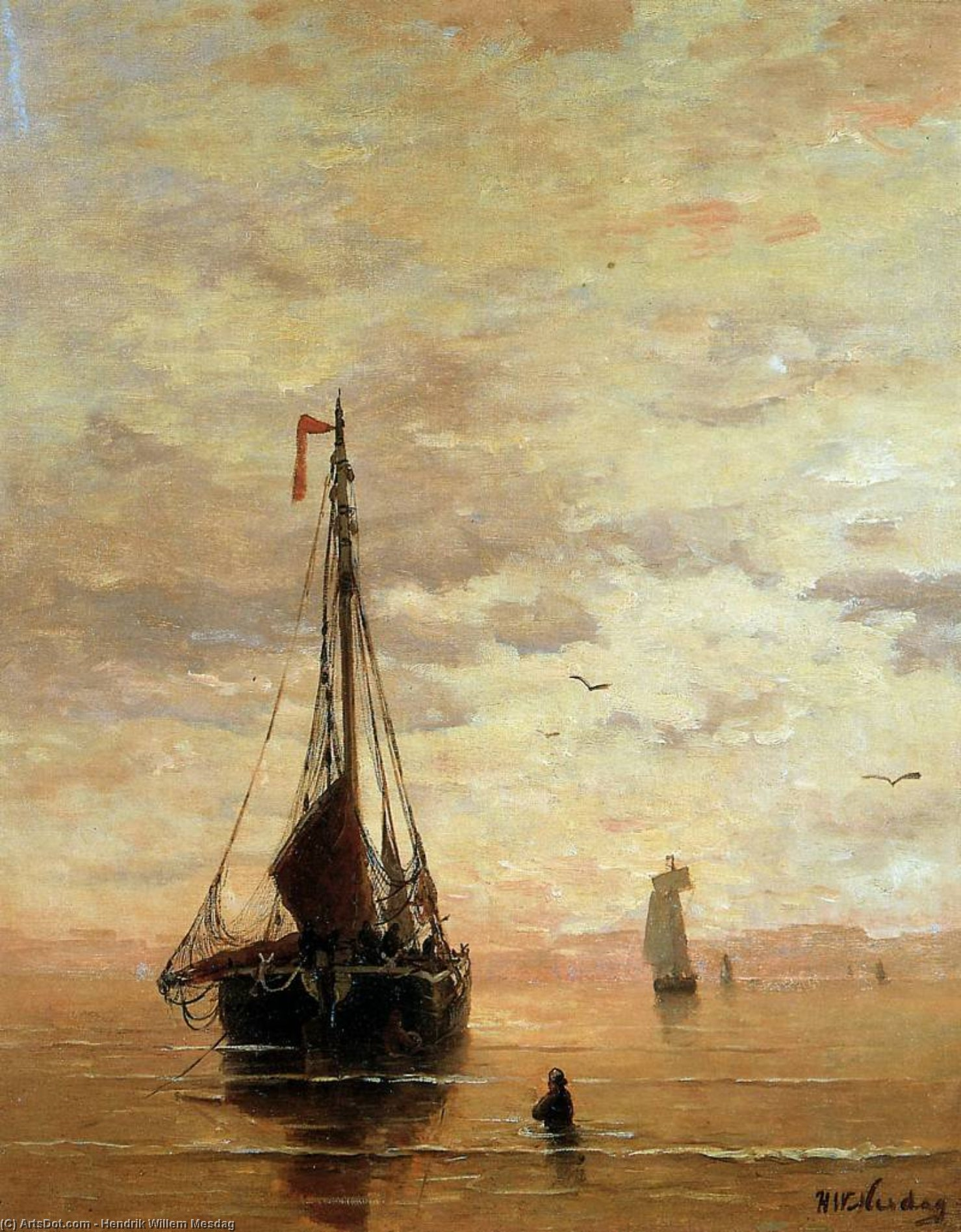 ships on a calm sea near the coast sun by Hendrik Willem Mesdag (1831-1915, Netherlands)