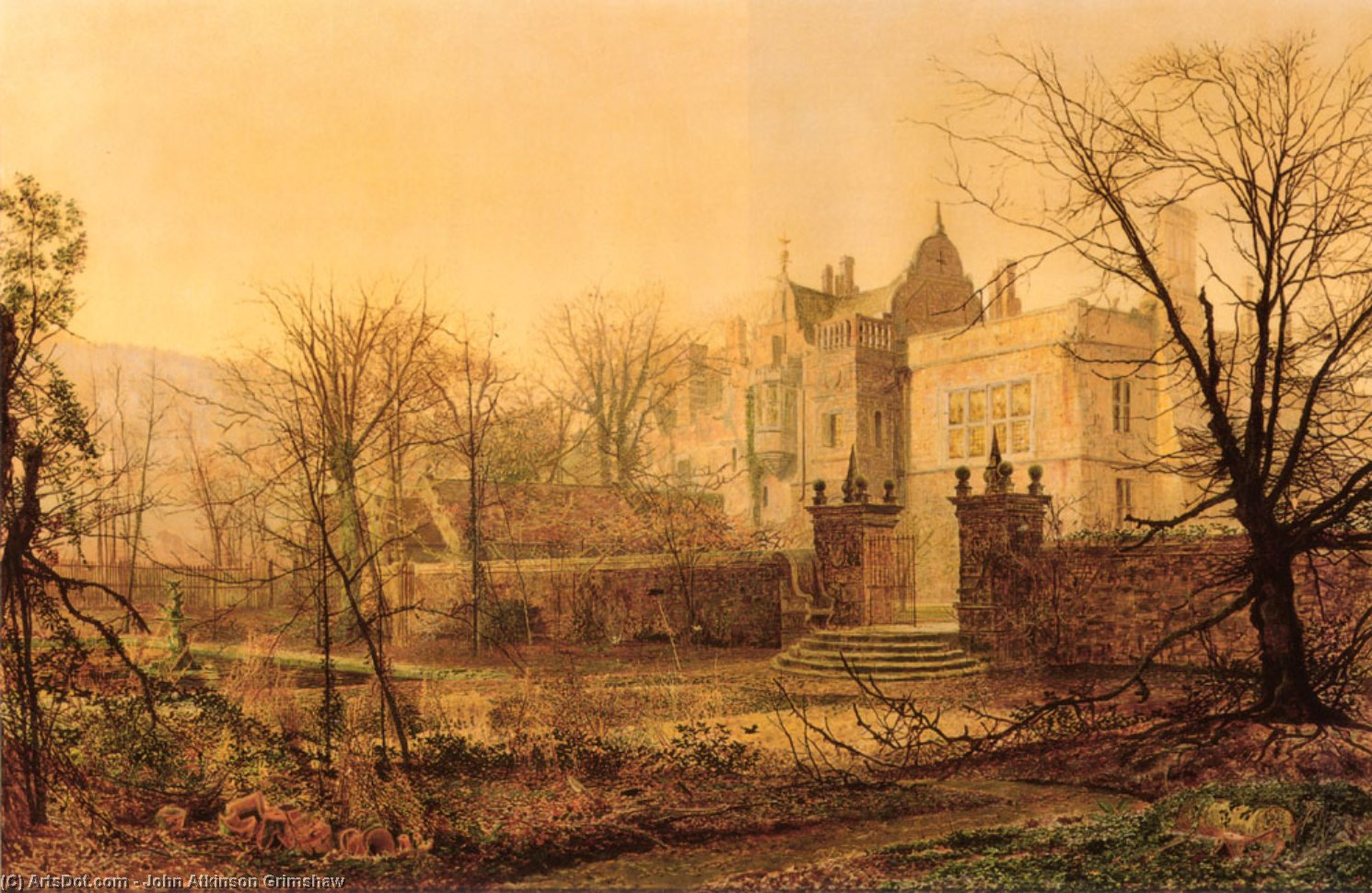 knostrop hall early morning by John Atkinson Grimshaw (1836-1893, United Kingdom)