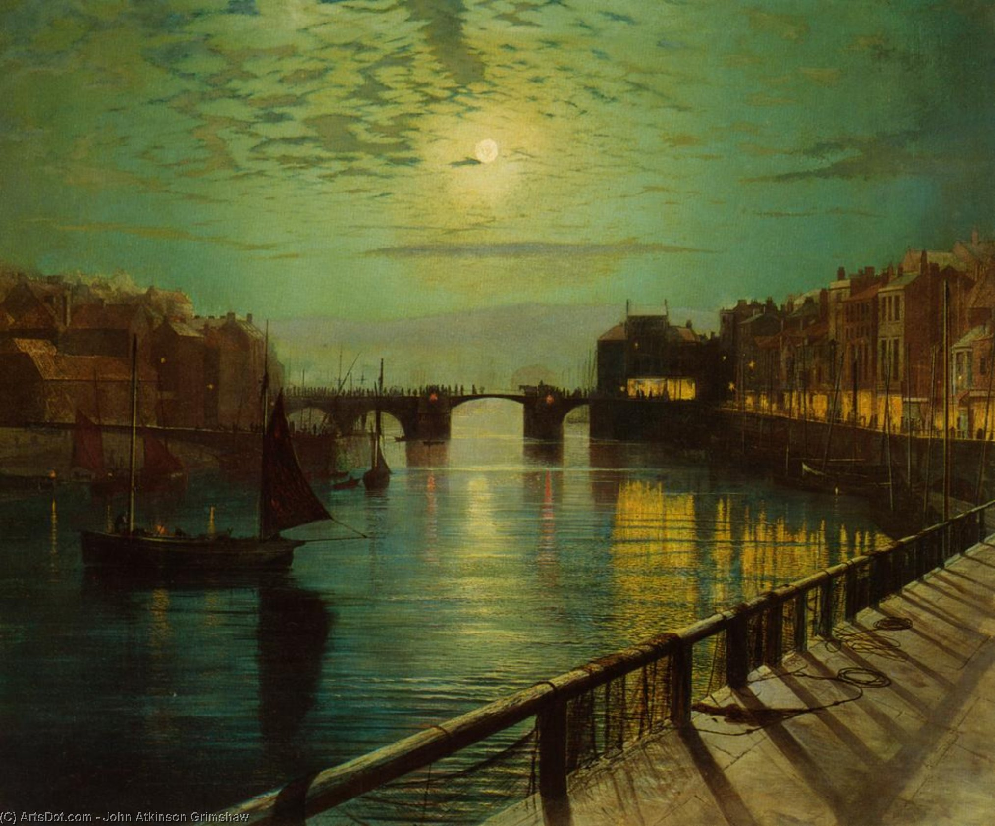 Whitby Harbor by Moonlight by John Atkinson Grimshaw (1836-1893, United Kingdom)