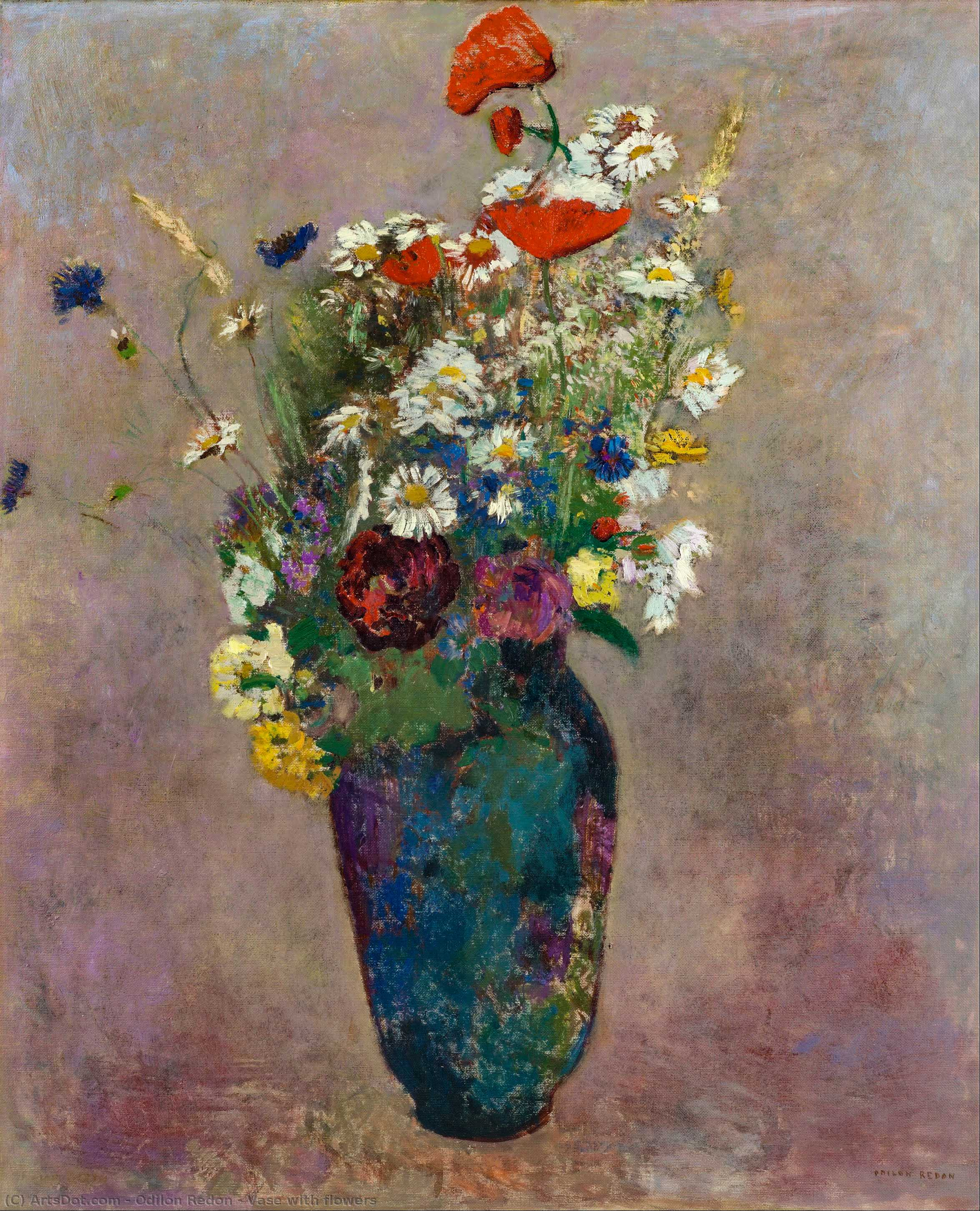 Vase with flowers by Odilon Redon (1840-1916, France) | Art Reproduction | ArtsDot.com