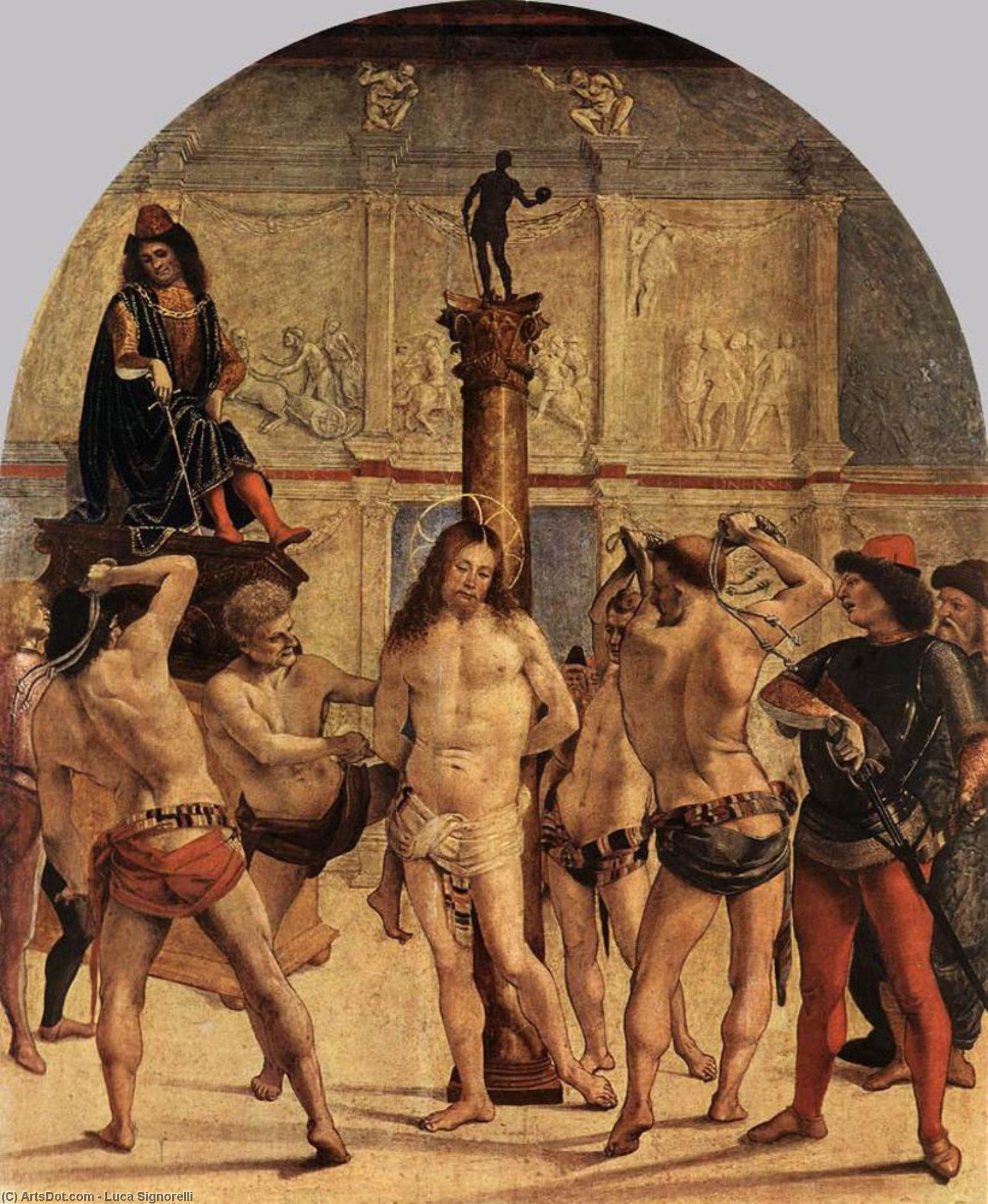 the scourging of christ by Luca Signorelli (1450-1523, Italy)