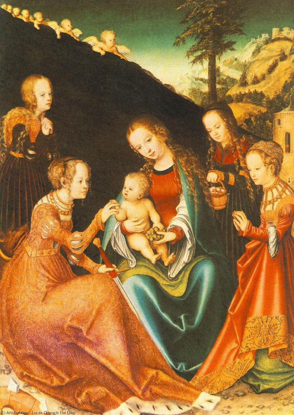 Mystic Marriage of St Catherine, 1516 by Lucas Cranach The Elder (1472-1553, Germany)