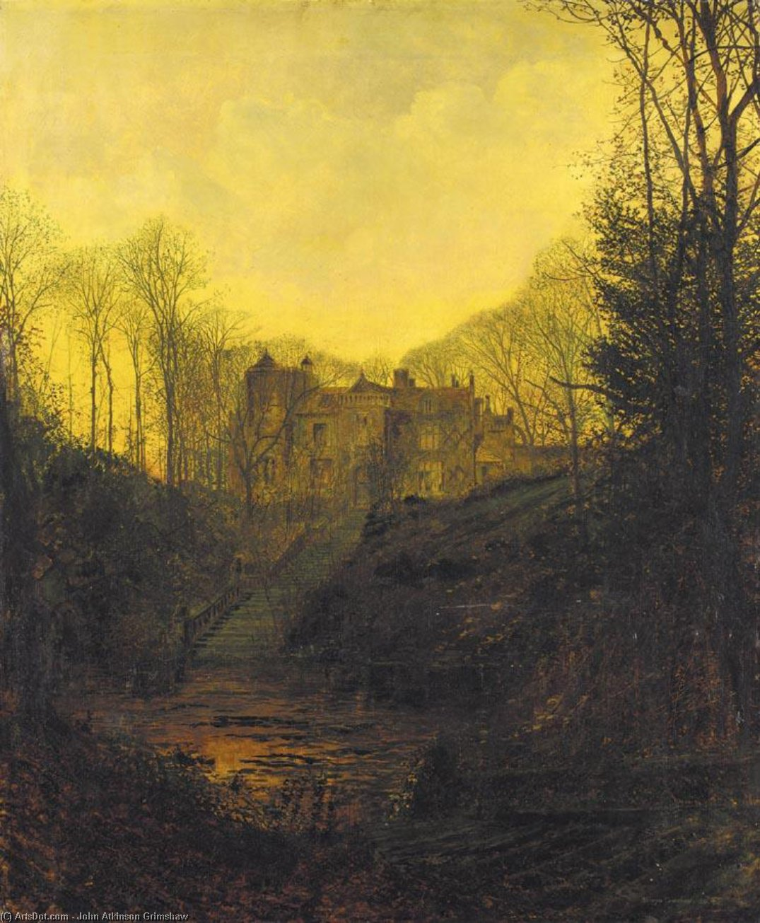 A Manor House in Autumn by John Atkinson Grimshaw (1836-1893, United Kingdom)