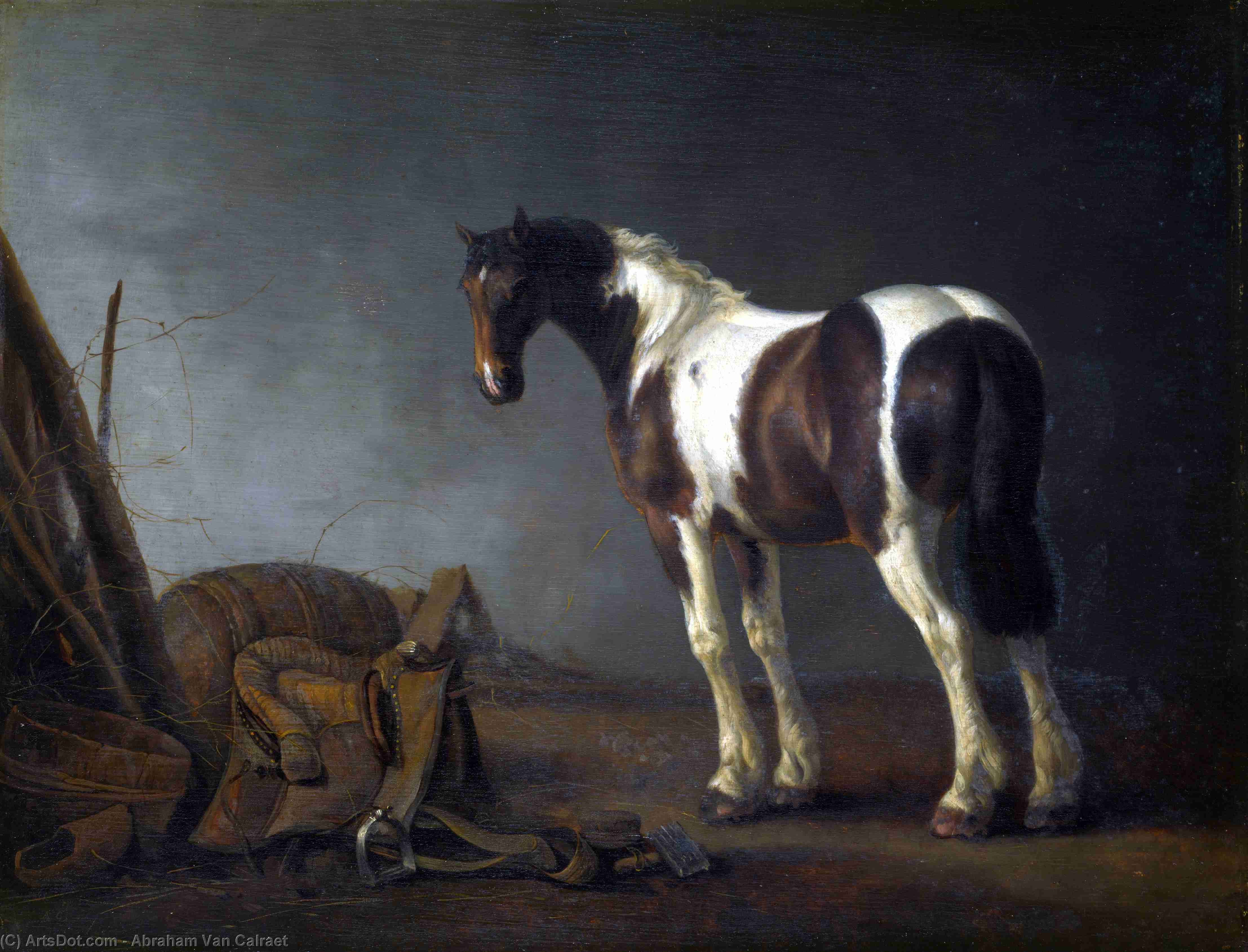 A Horse with a Saddle Beside it by Abraham Pietersz Van Calraet (1642-1722) | Museum Quality Reproductions | ArtsDot.com
