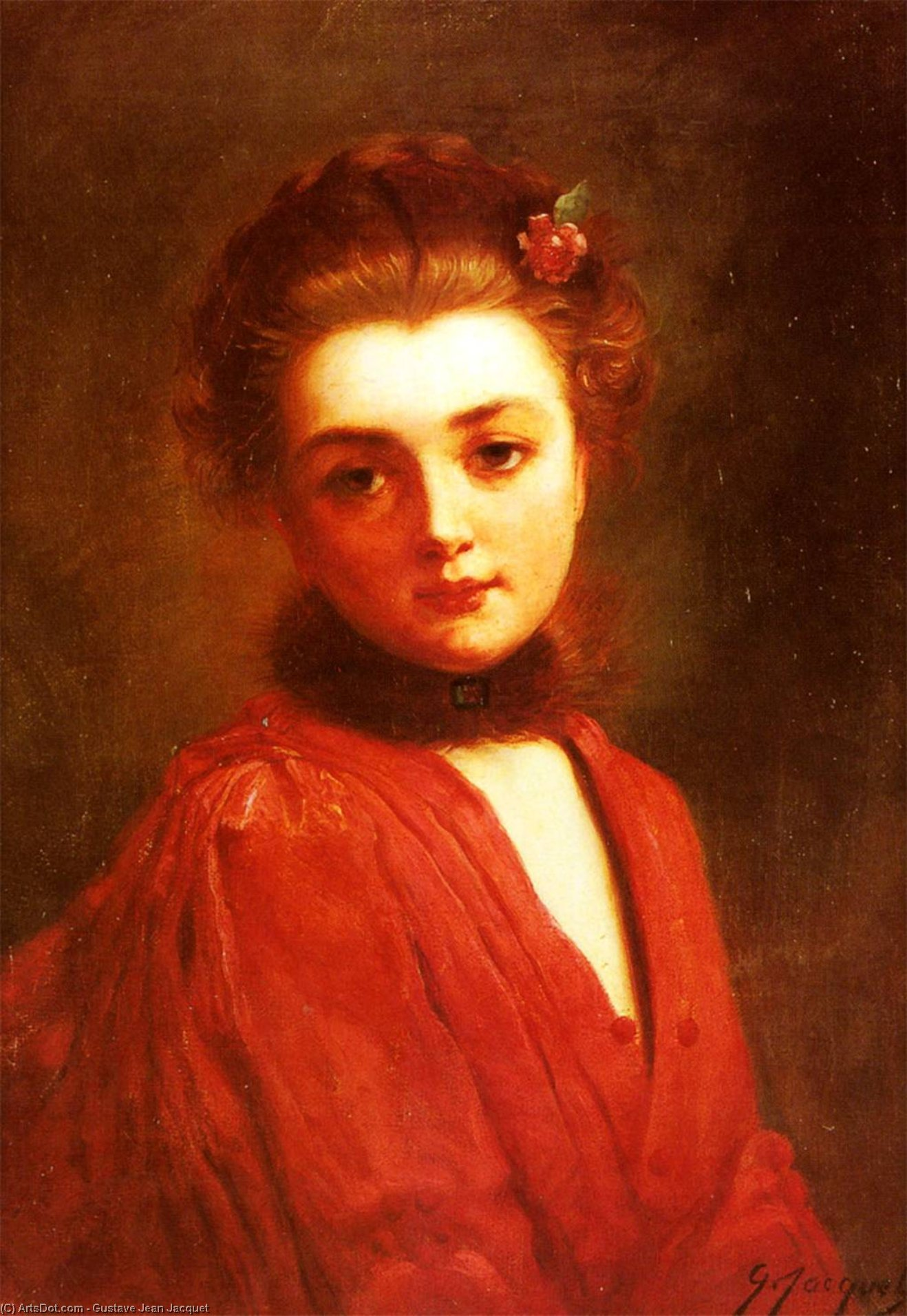 Portrait of a girl in a red dress by Gustave Jean Jacquet (1846-1909, France) | ArtsDot.com