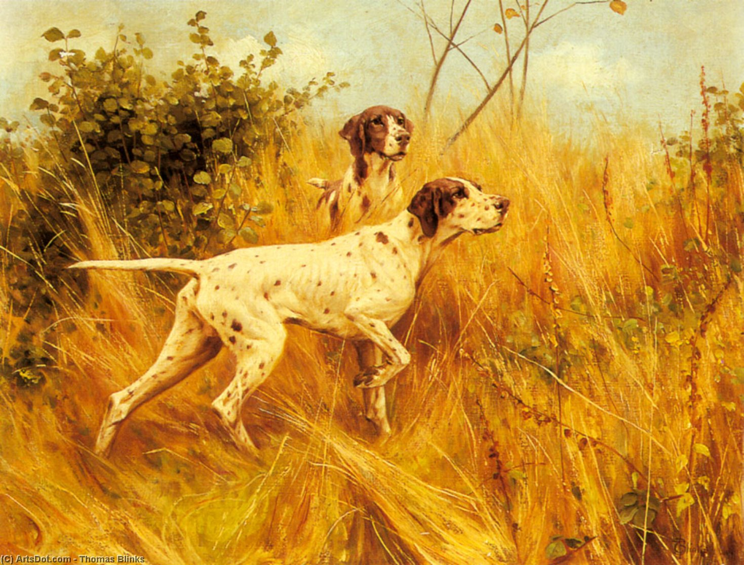 Two pointers in a landscape by Thomas Blinks (1860-1912, United Kingdom)