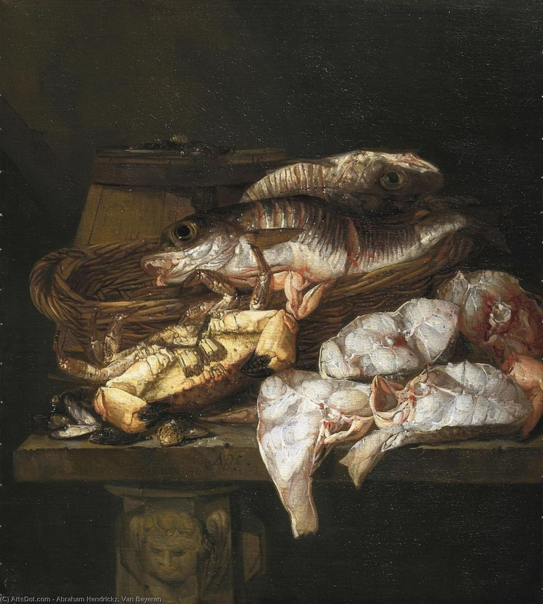 Still life with Fish (about (75.8 x 68) (The Hague, the Royal Gallery Mauritshuis) (1650-1690)) by Abraham Hendrickz. Van Beyeren
