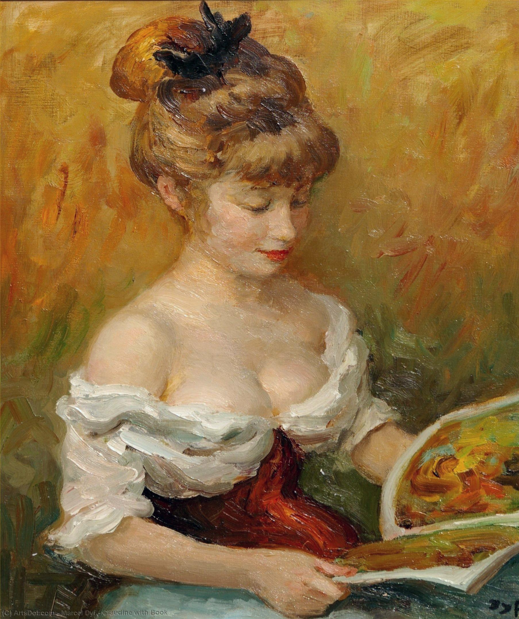 Claudine with Book by Marcel Dyf (1899-1985, France) | Museum Art Reproductions | ArtsDot.com