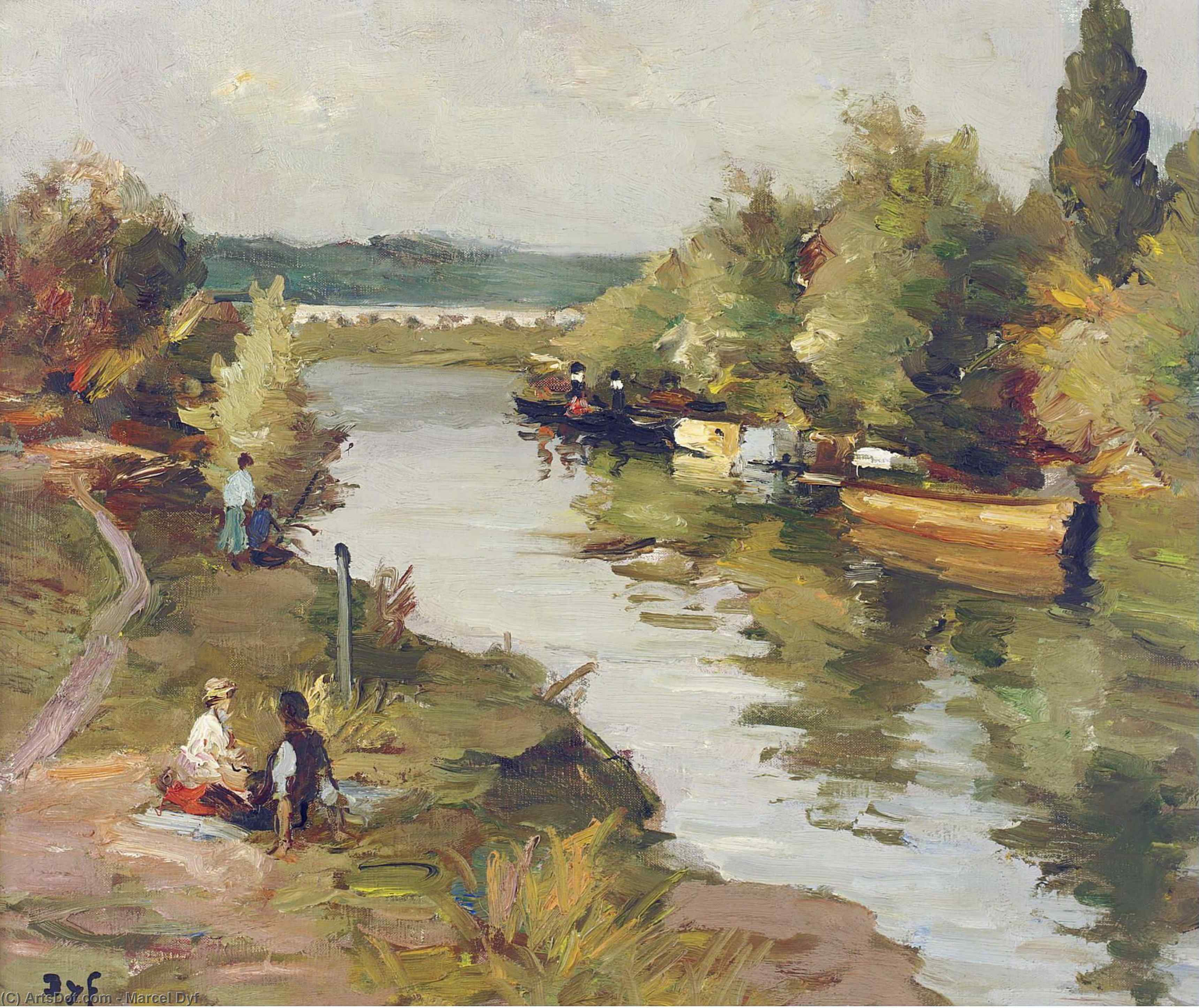 Lovers on the River Bank at Amoureux, (1955) by Marcel Dyf (1899-1985, France) | ArtsDot.com