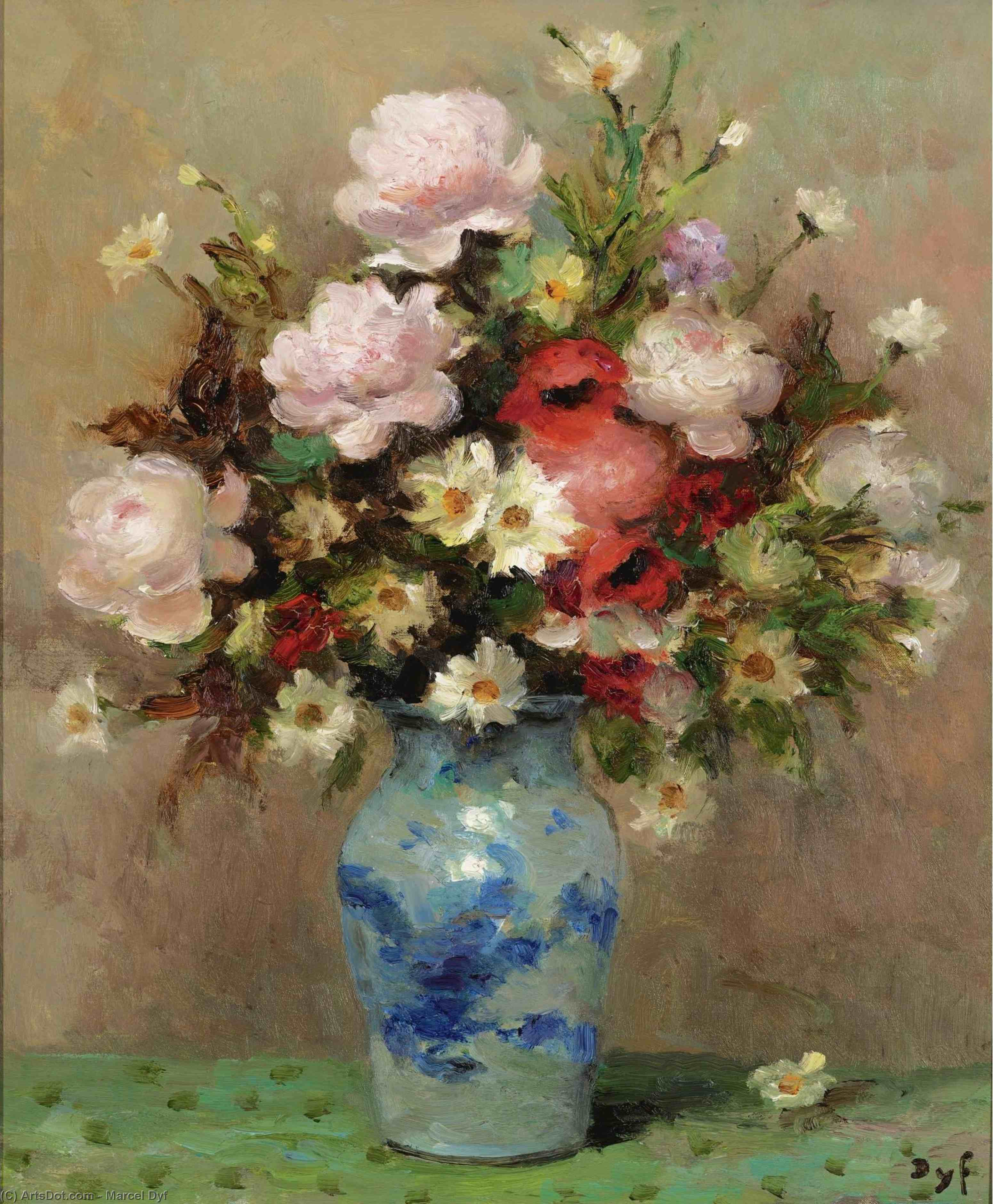 Peonies and Anemones, (1984) by Marcel Dyf (1899-1985, France)