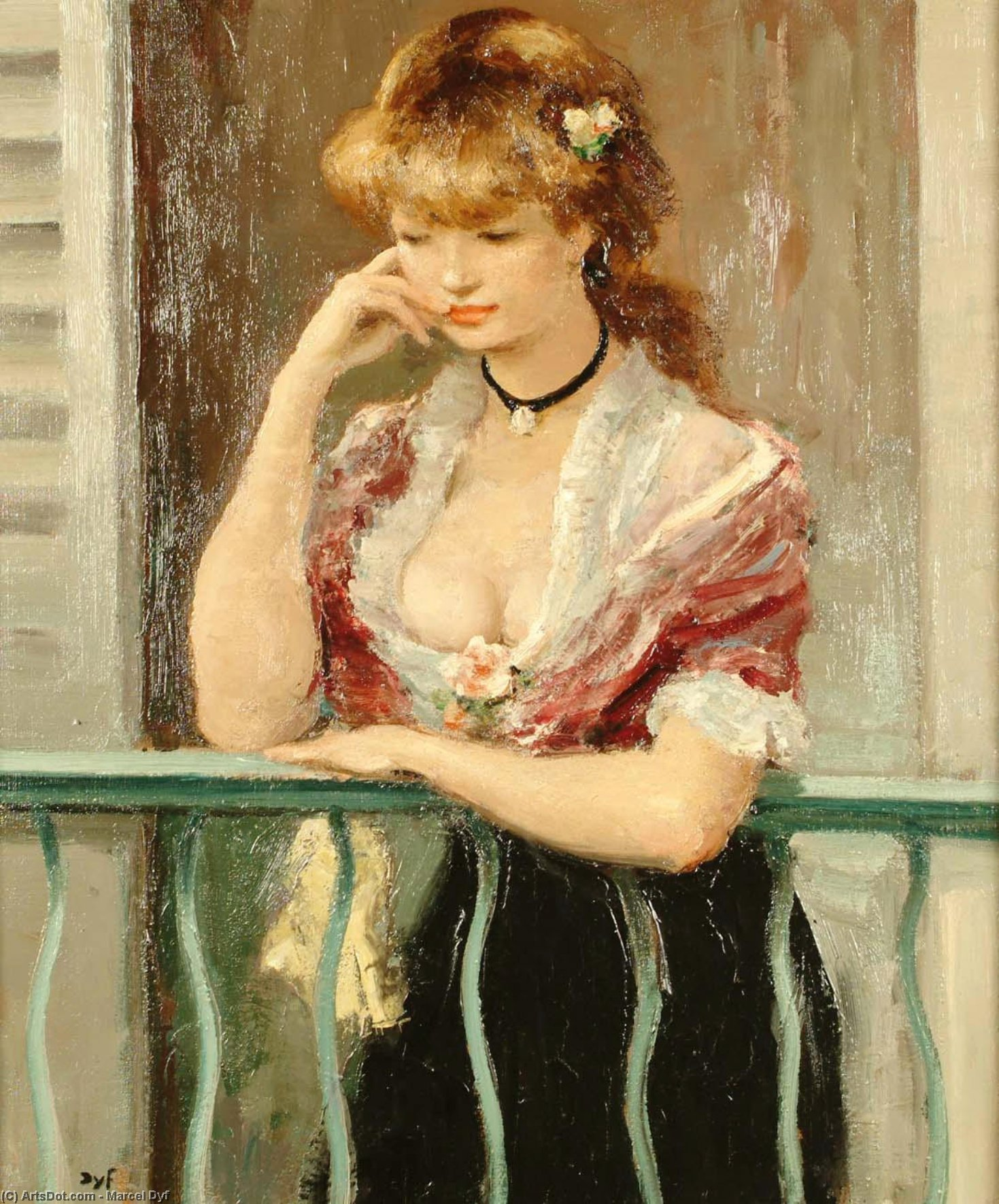 Woman on a Balcony by Marcel Dyf (1899-1985, France)