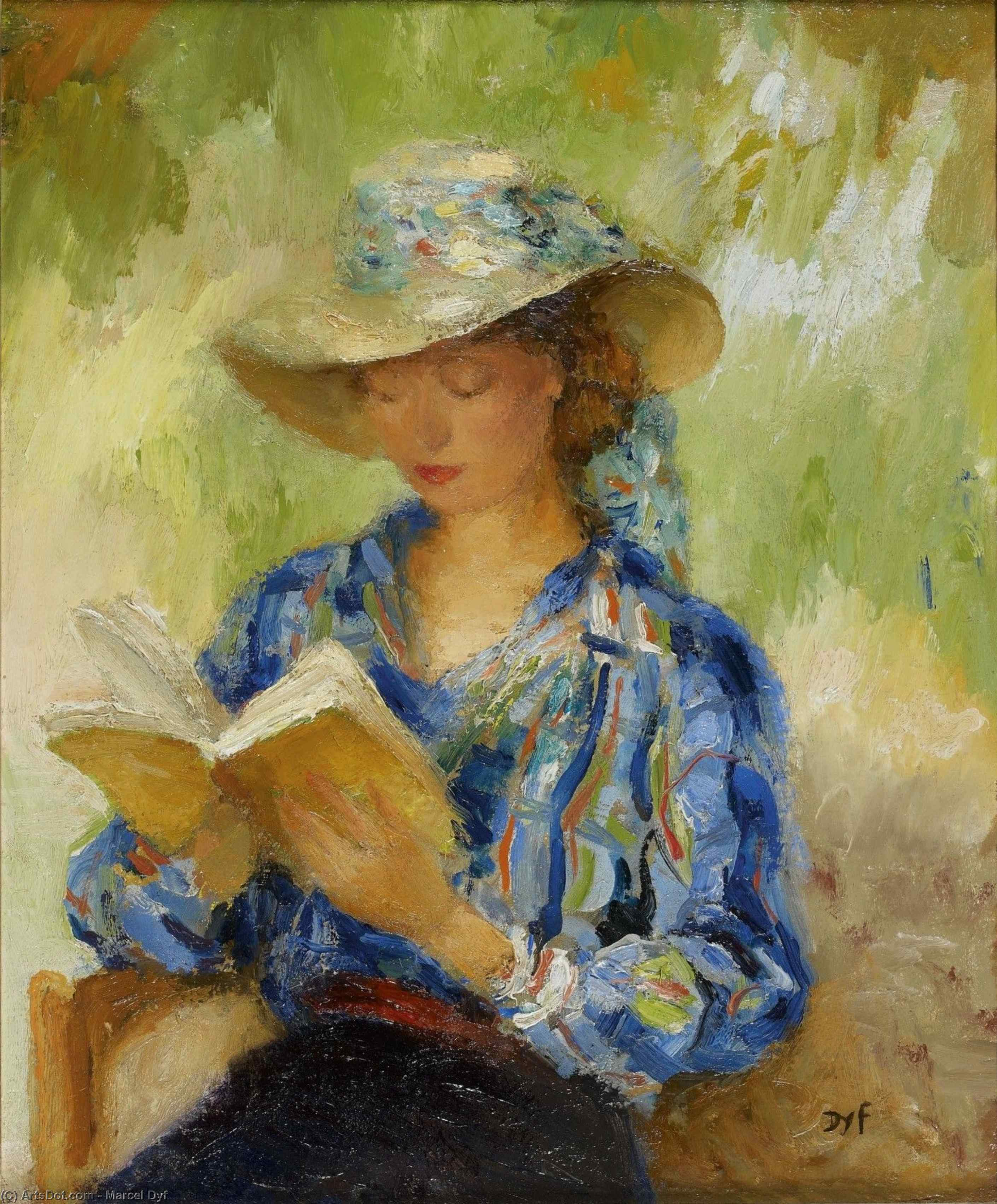 Young woman reading by Marcel Dyf (1899-1985, France)