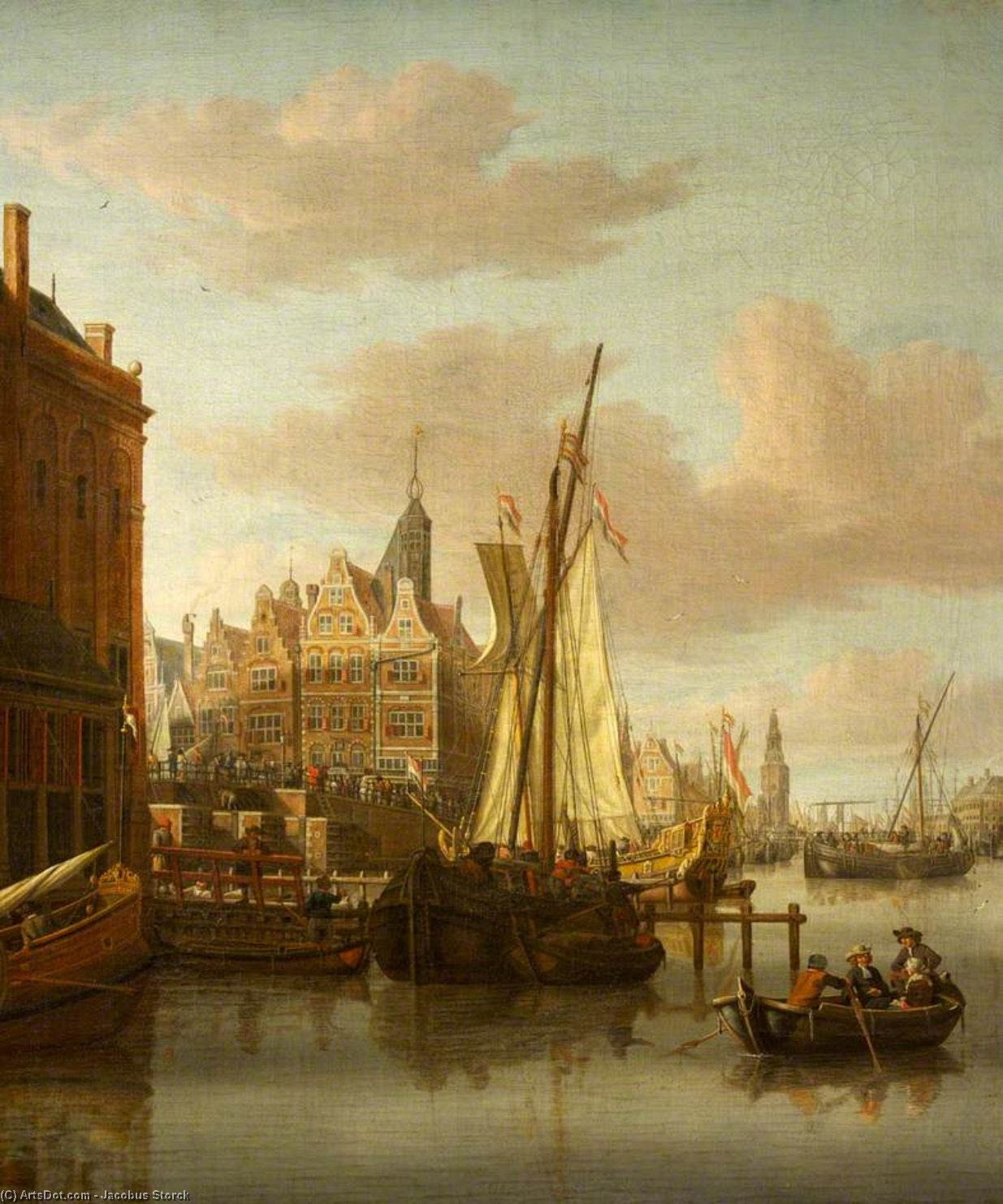 A View of Amsterdam, with the Oude Schans Canal and the Montelbaans Tower by Jacobus Storck (1641-1692, Netherlands)