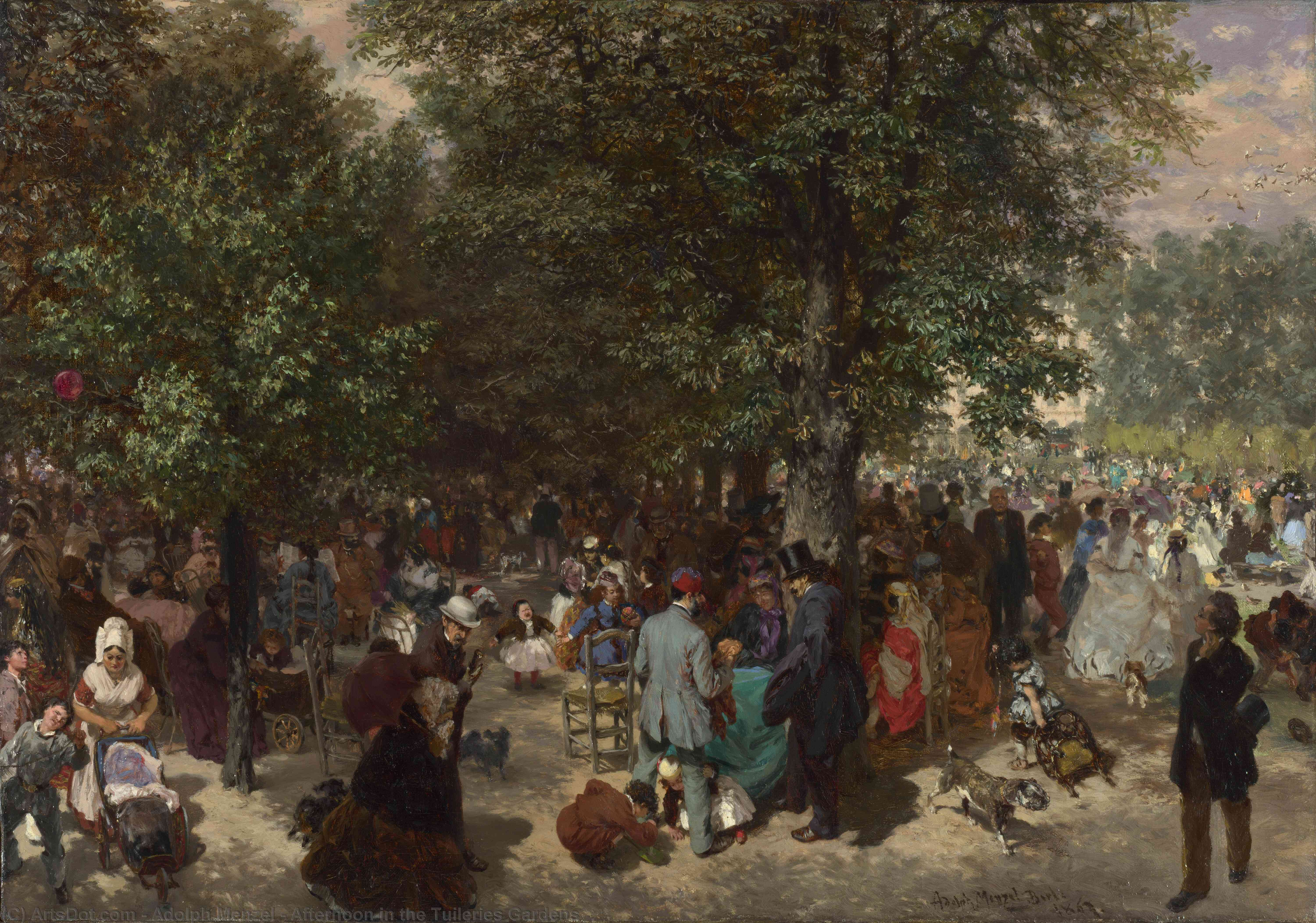 Afternoon in the Tuileries Gardens, 1867 by Adolph Menzel (1815-1905, Poland) | Art Reproduction | ArtsDot.com