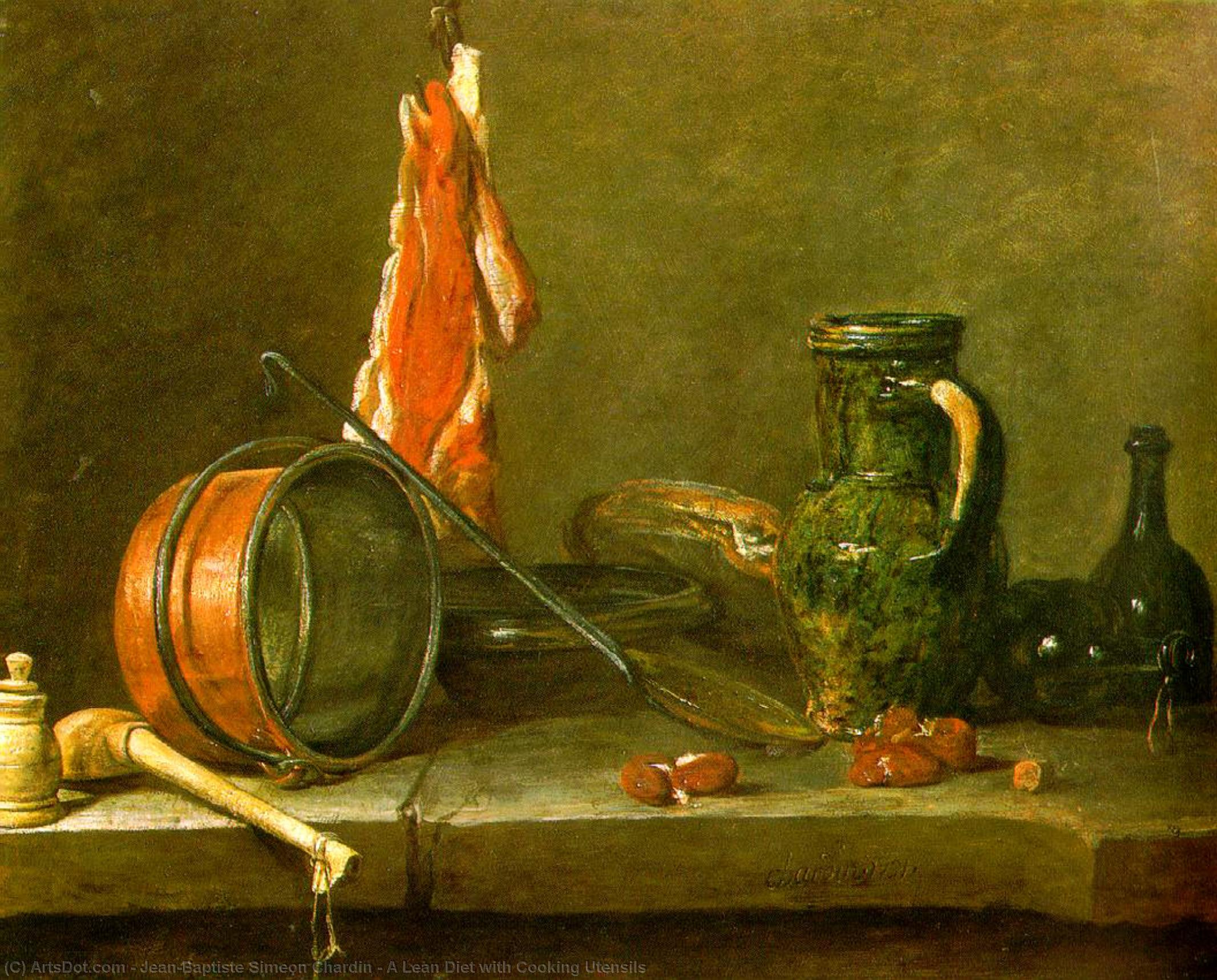 A Lean Diet with Cooking Utensils, 1731 by Jean-Baptiste Simeon Chardin (1699-1779, France) | Museum Art Reproductions | ArtsDot.com