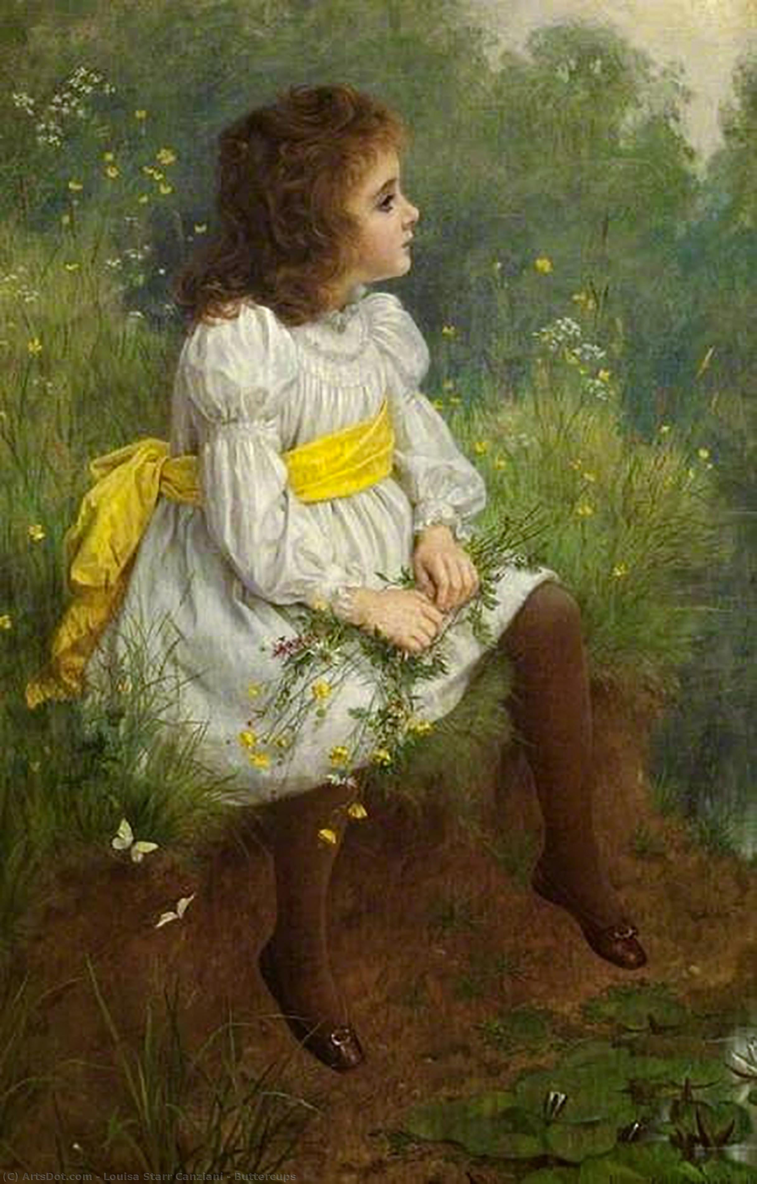 Buttercups, 1893 by Louisa Starr Canziani (1845-1909, United Kingdom) | Art Reproductions Louisa Starr Canziani | ArtsDot.com