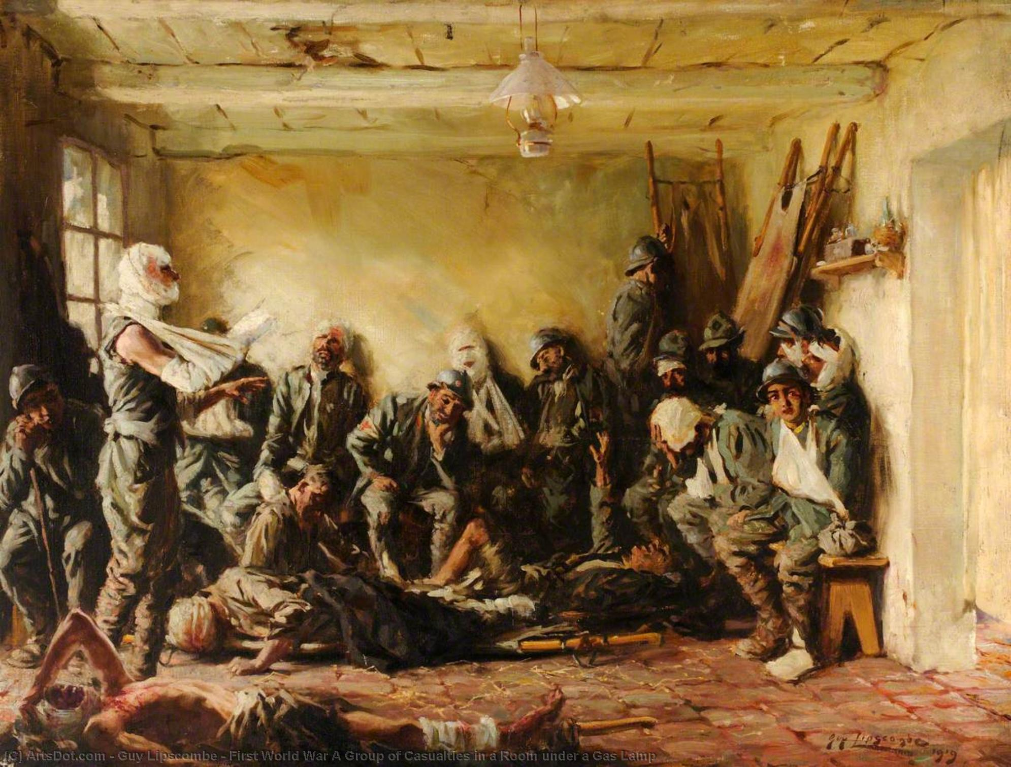 First World War A Group of Casualties in a Room under a Gas Lamp, 1919 by Guy Lipscombe | Art Reproductions Guy Lipscombe | ArtsDot.com