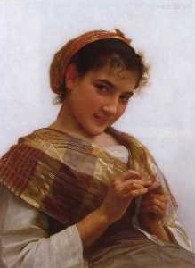William Adolphe Bouguereau - Portrait of a Young Girl Crocheting
