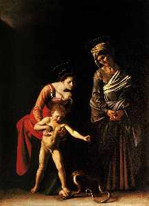Caravaggio (Michelangelo .. - The Madonna and Child wit..
