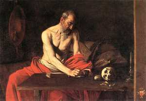 Caravaggio (Michelangelo .. - Saint Jerome Writing