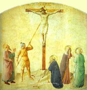 Fra Angelico - St. Dominic with the Crucifix - Piercing of the Christ-s Side