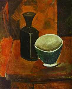 Pablo Picasso - Green Bowl and Black Bottle