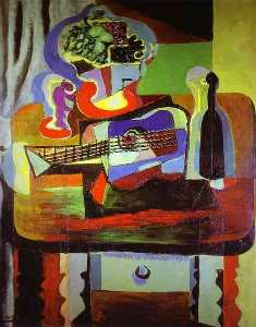 Pablo Picasso - Guitar, Bottle, Bowl with Fruit, and Glass on Table