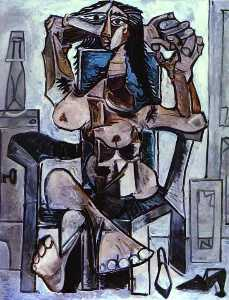 Pablo Picasso - Nude in an Armchair with a Bottle of Evian Water, a Glass and Shoes