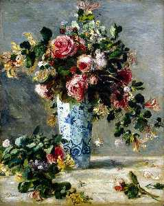 Pierre-Auguste Renoir - Roses and Jasmin in a Delft Vase