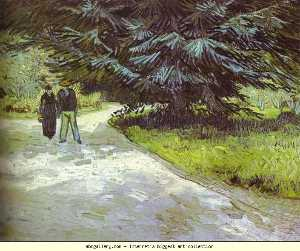 Vincent Van Gogh - Park with a Couple and a Blue Fir Tree