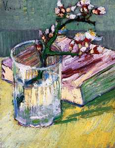 Vincent Van Gogh - Blossoming Almond Branch in a Glass with a Book
