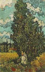 Vincent Van Gogh - Cypresses and Two Women